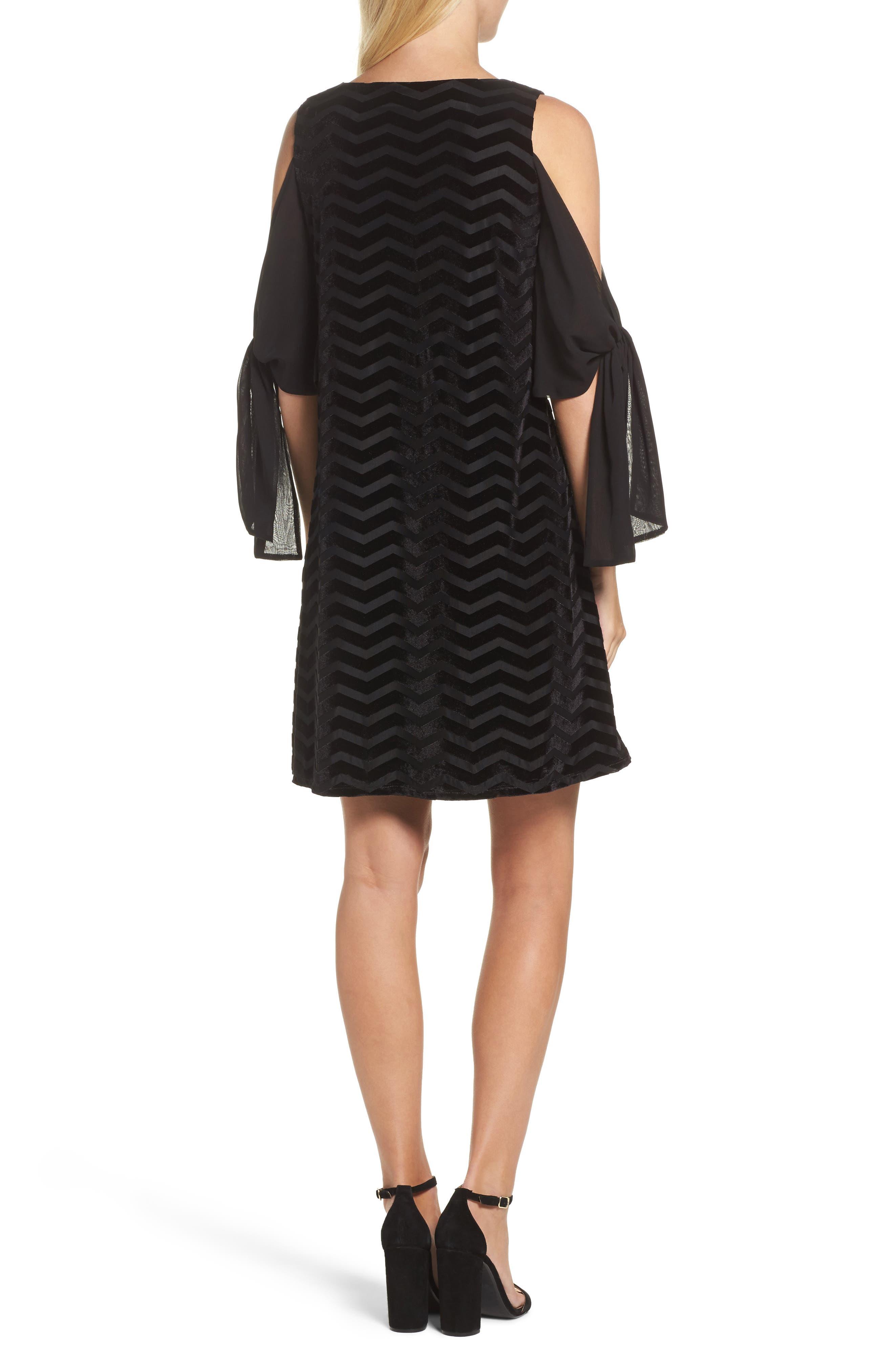 Alternate Image 2  - Taylor Dresses Chiffon Sleeve Velvet Burnout Shift Dress