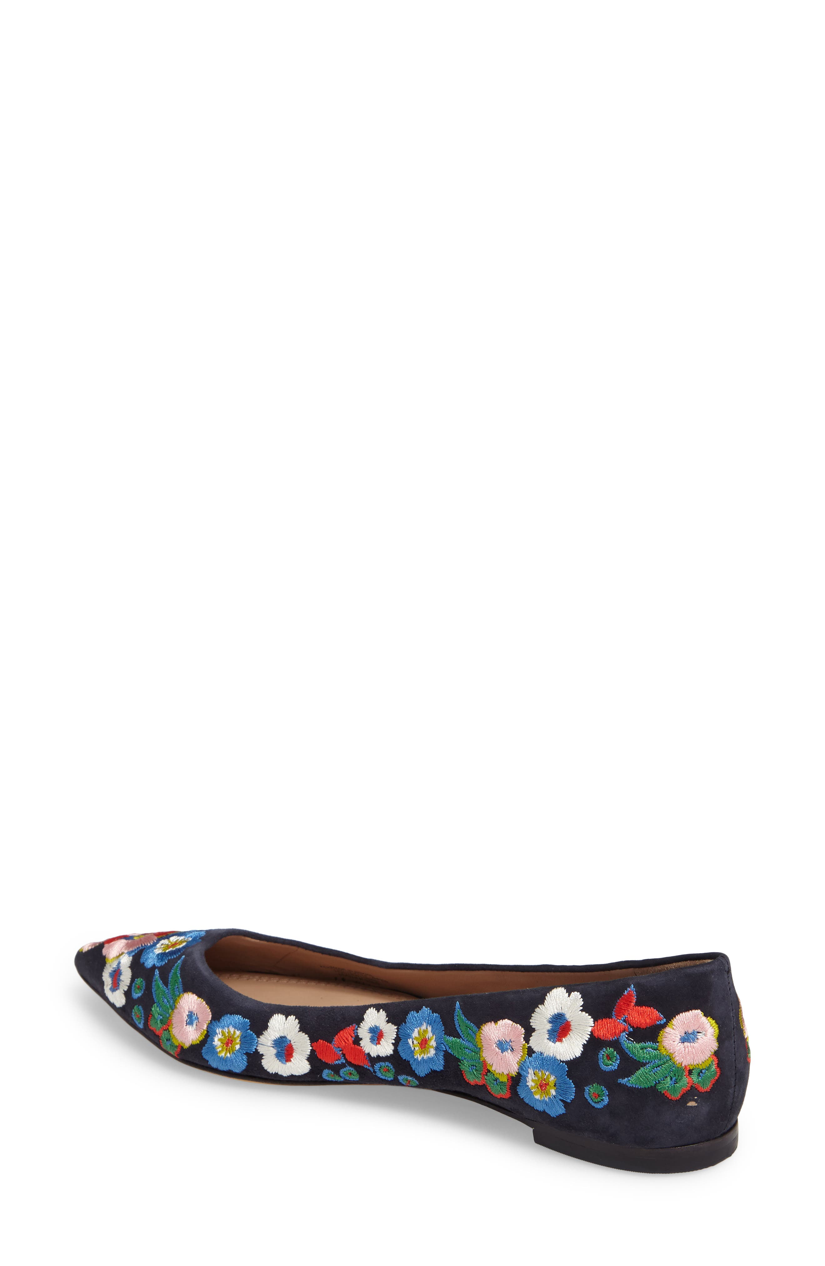 Rosemont Flower Embroidered Flat,                             Alternate thumbnail 2, color,                             Tory Navy/ Pansy Bouquet