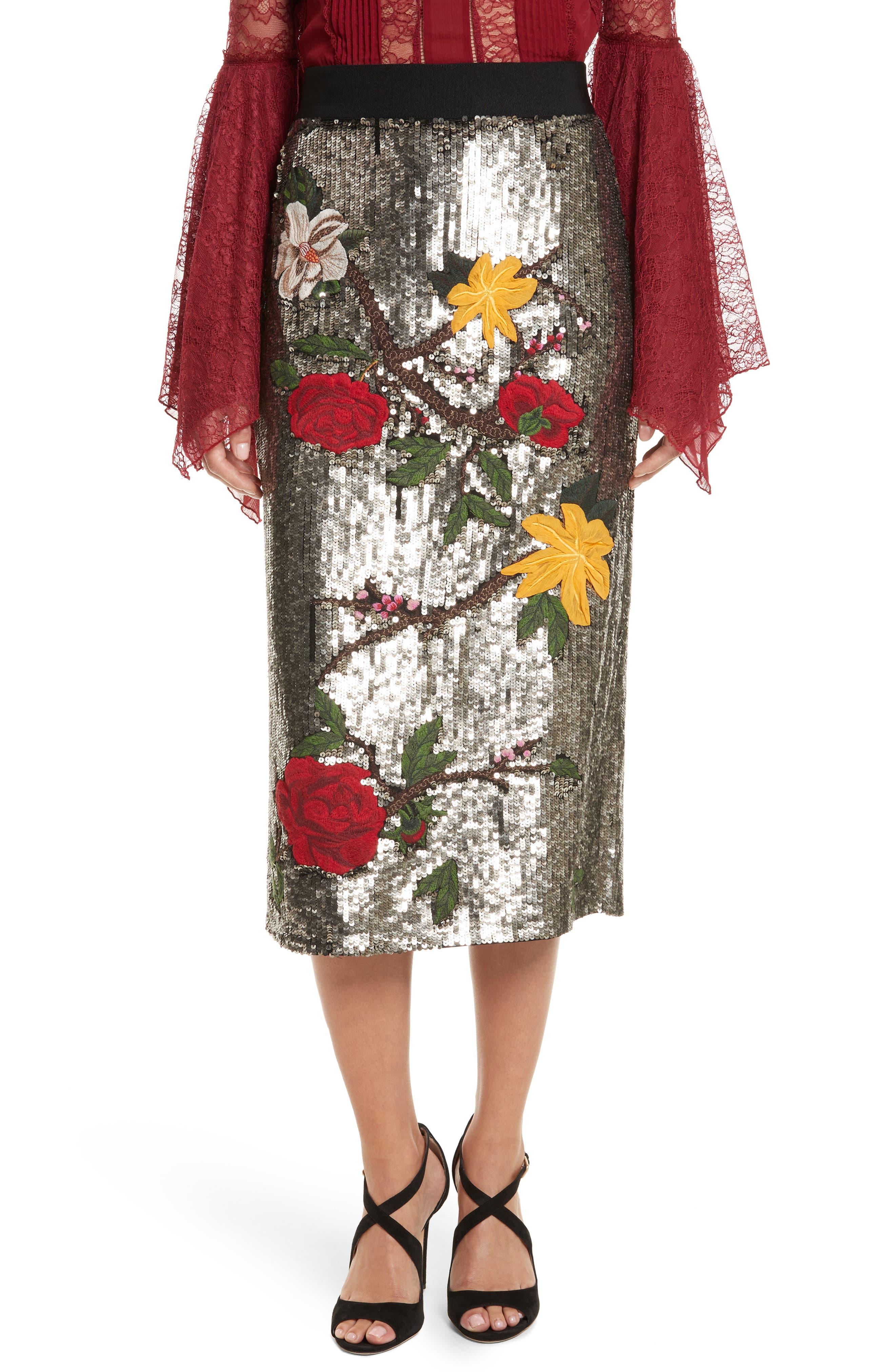 Ella Embellished Midi Skirt,                         Main,                         color, Antique Silver/ Multi