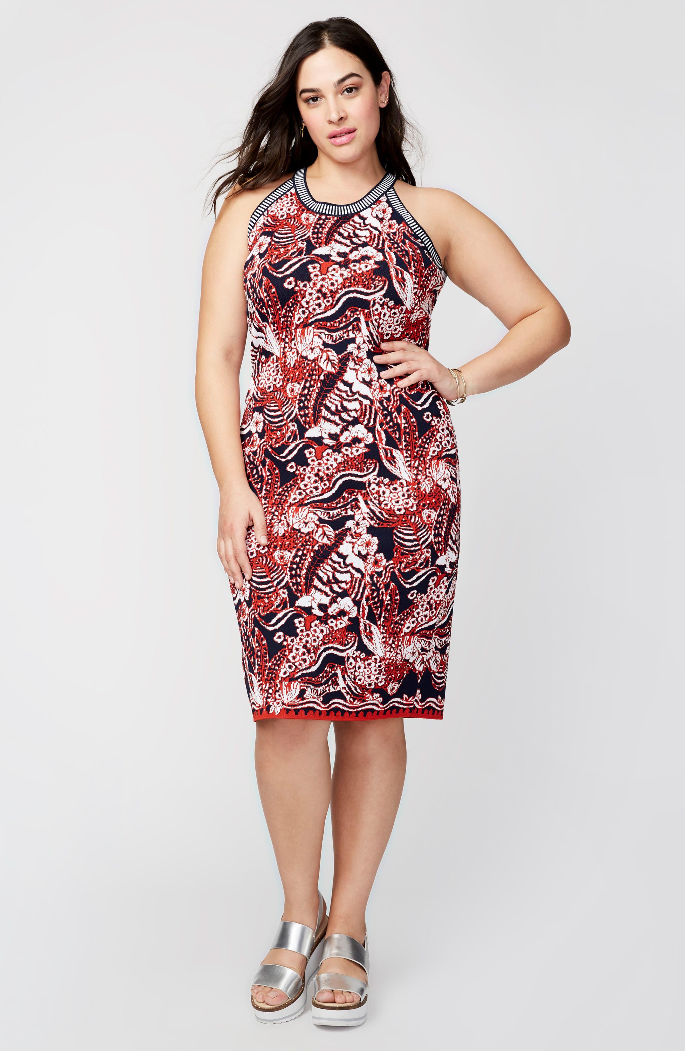 Alternate Image 2  - RACHEL Rachel Roy Floral Jacquard Halter Neck Sweater Dress (Plus Size)
