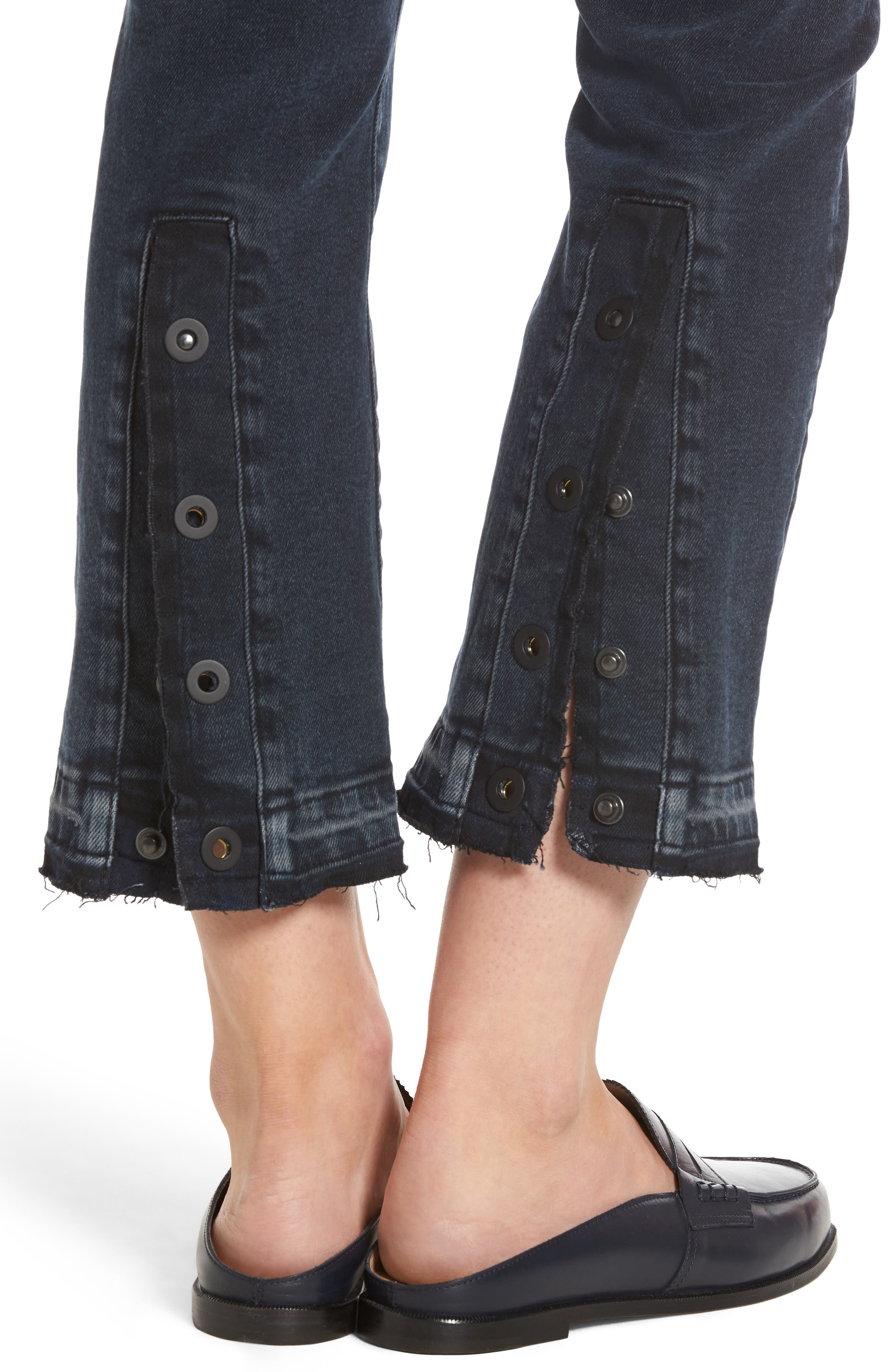Mara Ankle Snap Straight Leg Jeans,                             Alternate thumbnail 4, color,                             Rye