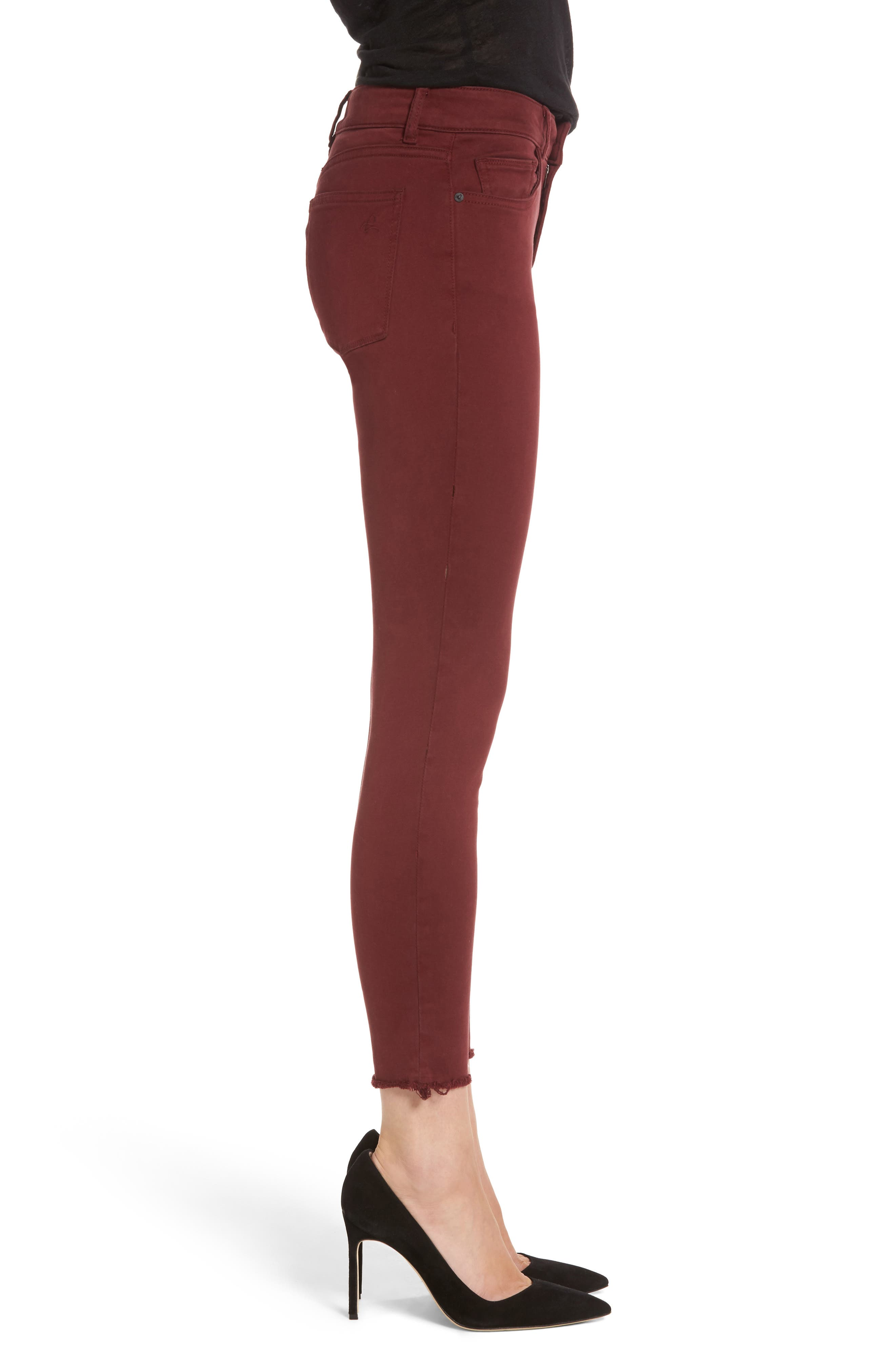 Margaux Instasculpt Ankle Skinny Jeans,                             Alternate thumbnail 3, color,                             Tawny Port