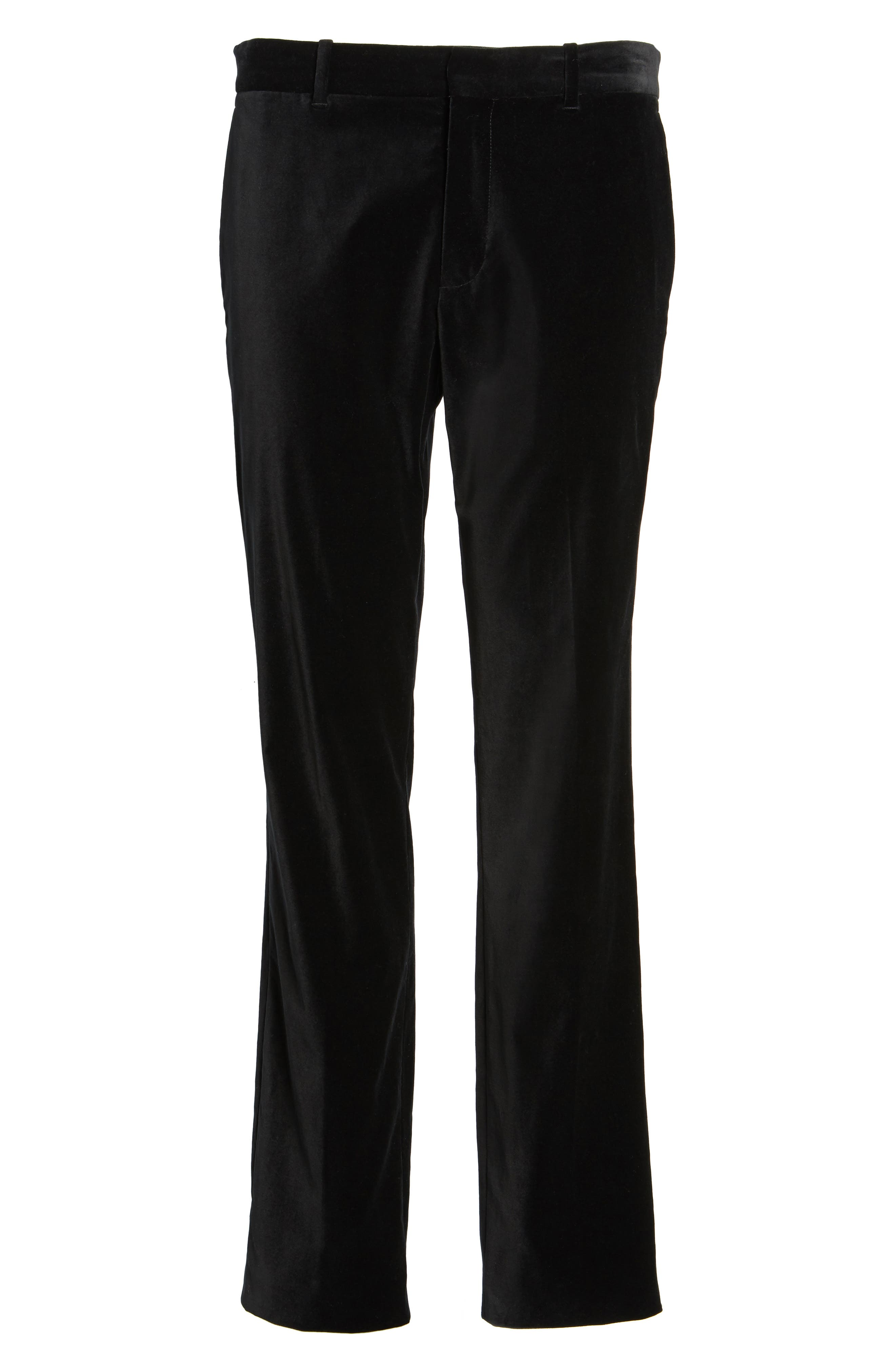Velvet Trousers,                             Alternate thumbnail 5, color,                             Black