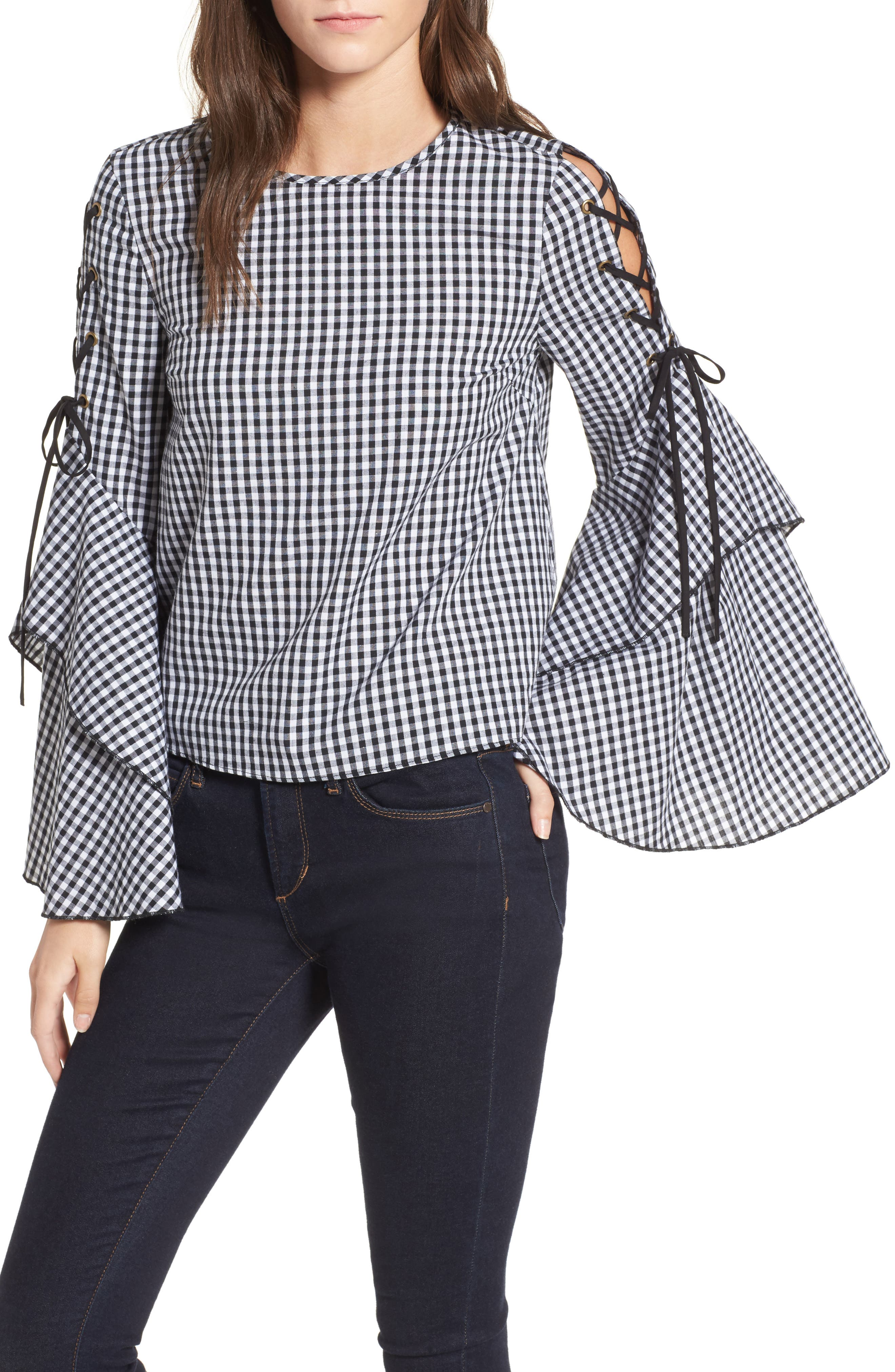 Ruffle Sleeve Gingham Top,                         Main,                         color, Black-White