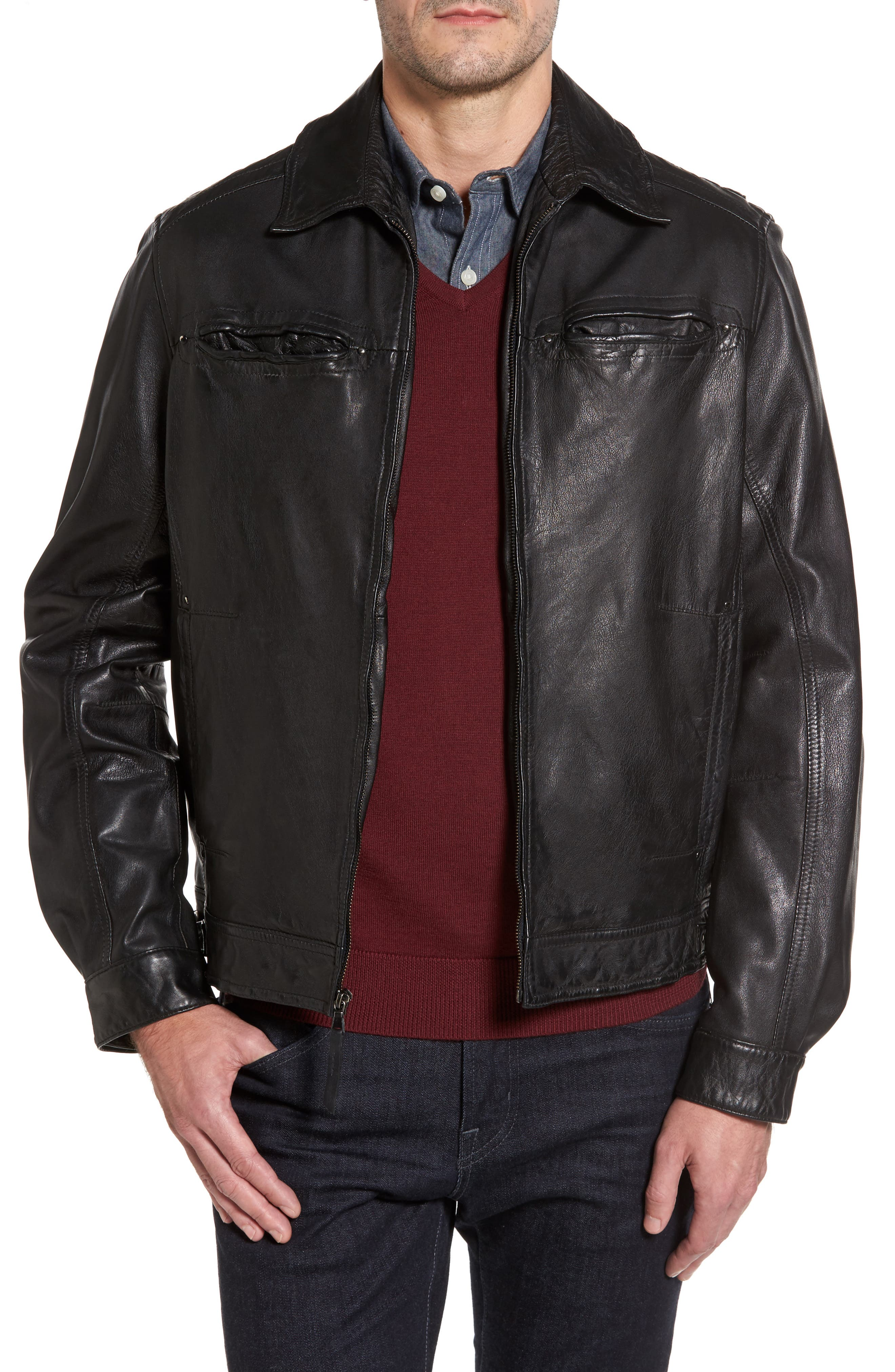 Contemporary Fit Washed Leather Jacket,                             Main thumbnail 1, color,                             Black