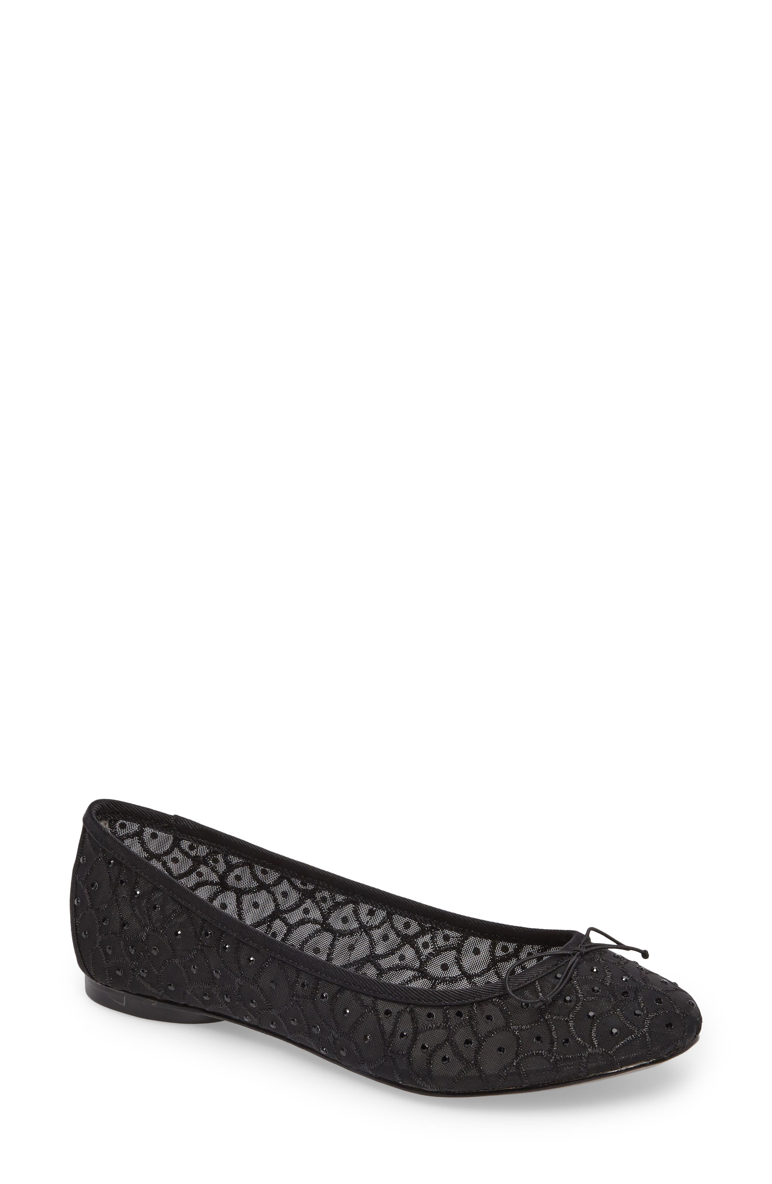 Natalia Ballet Flat,                         Main,                         color, Black Fabric