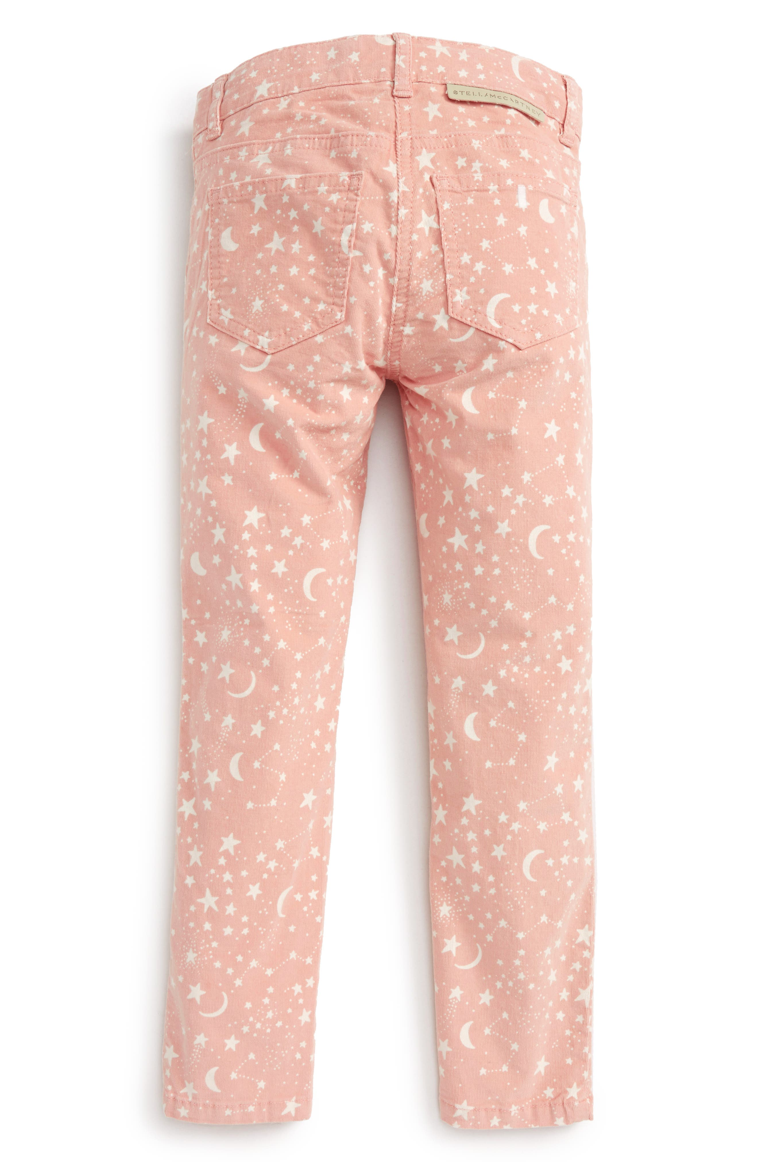Kids Nina Star & Moon Print Skinny Corduroy Pants,                             Alternate thumbnail 2, color,                             Pink