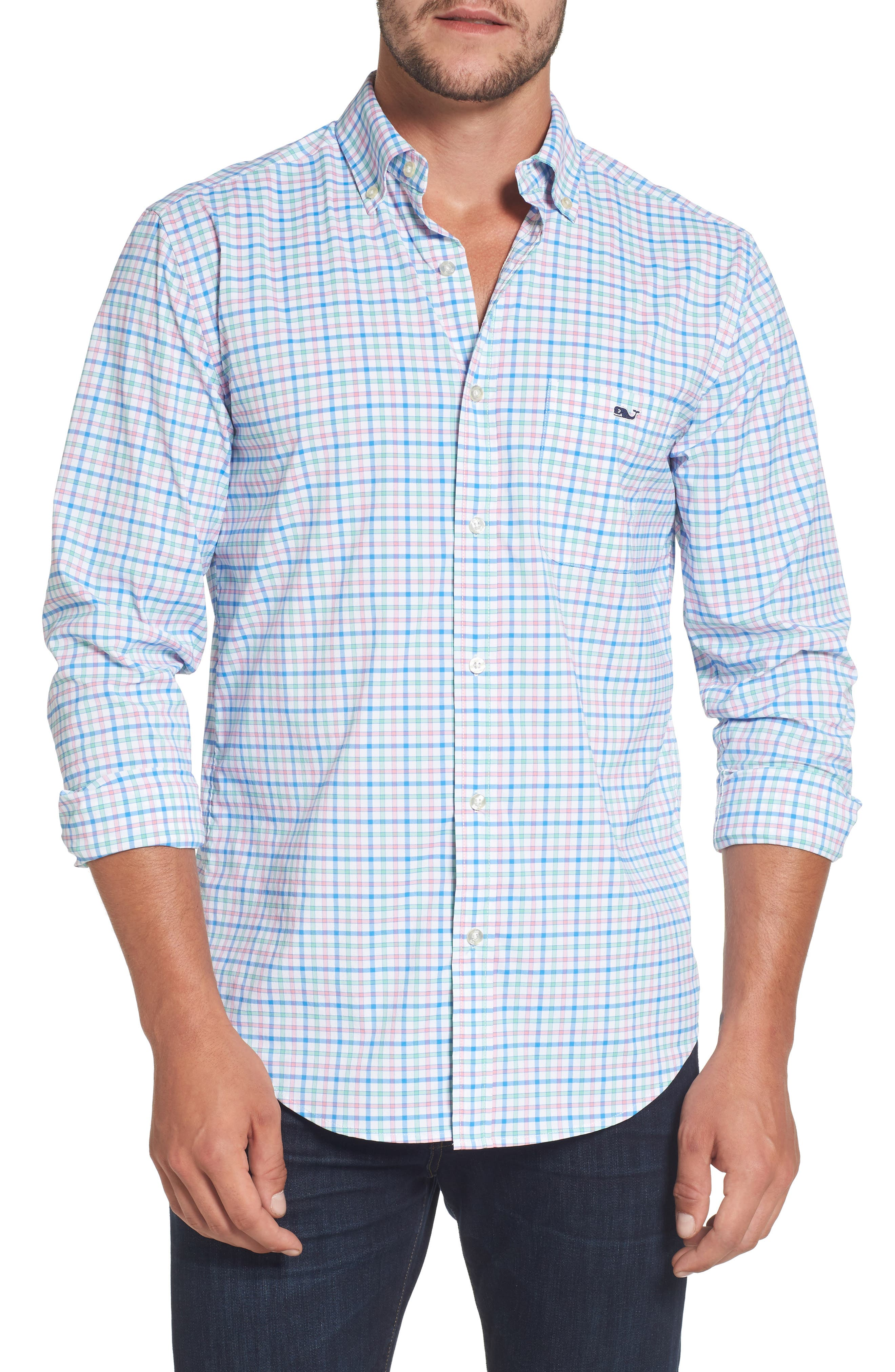 Main Image - vineyard vines Tucker Orchid Check Performance Sport Shirt
