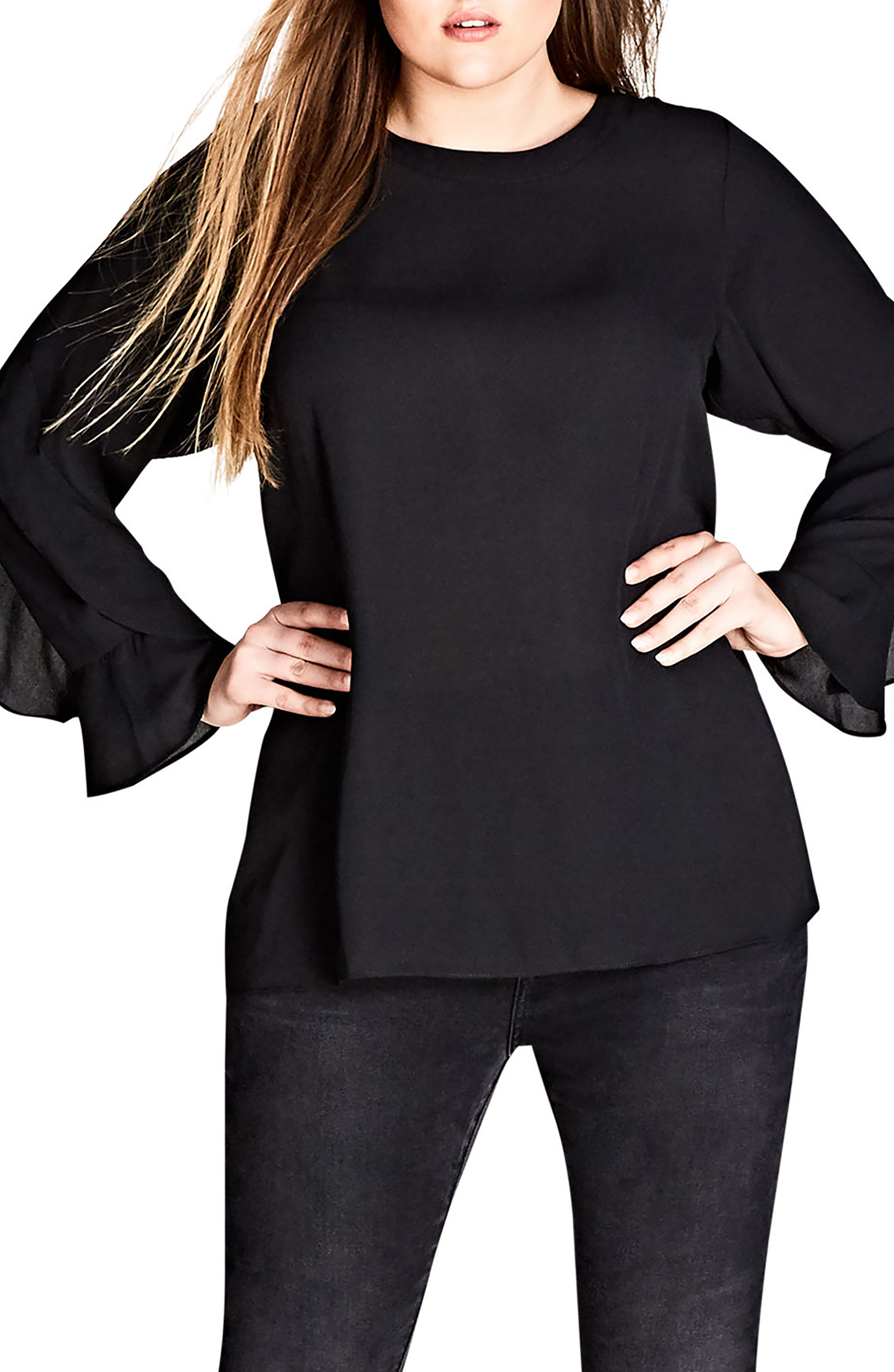 Frill Me Layered Sleeve Woven Top,                             Main thumbnail 1, color,                             Black
