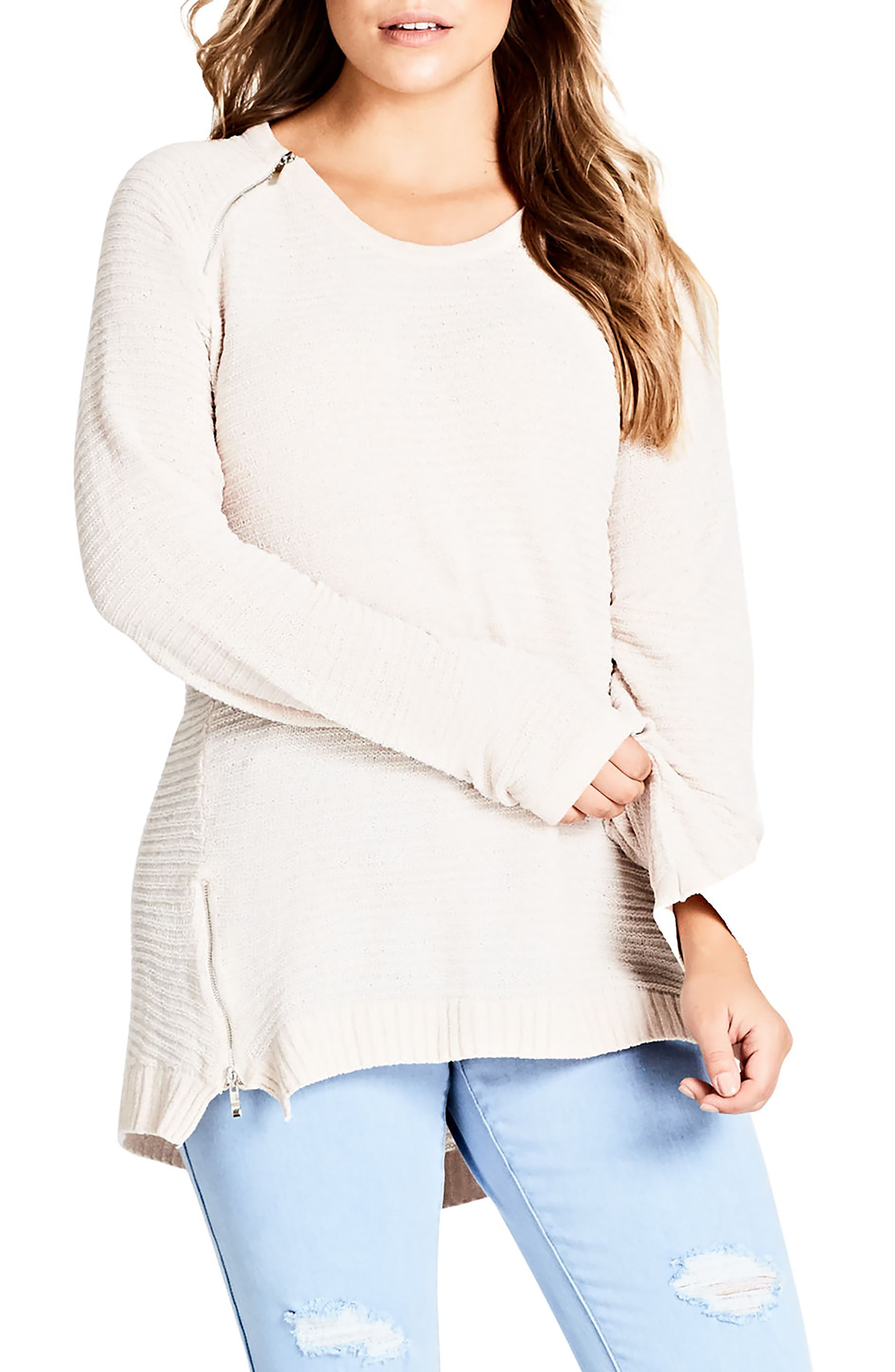 Alternate Image 1 Selected - City Chic Zip Detail Sweater (Plus Size)