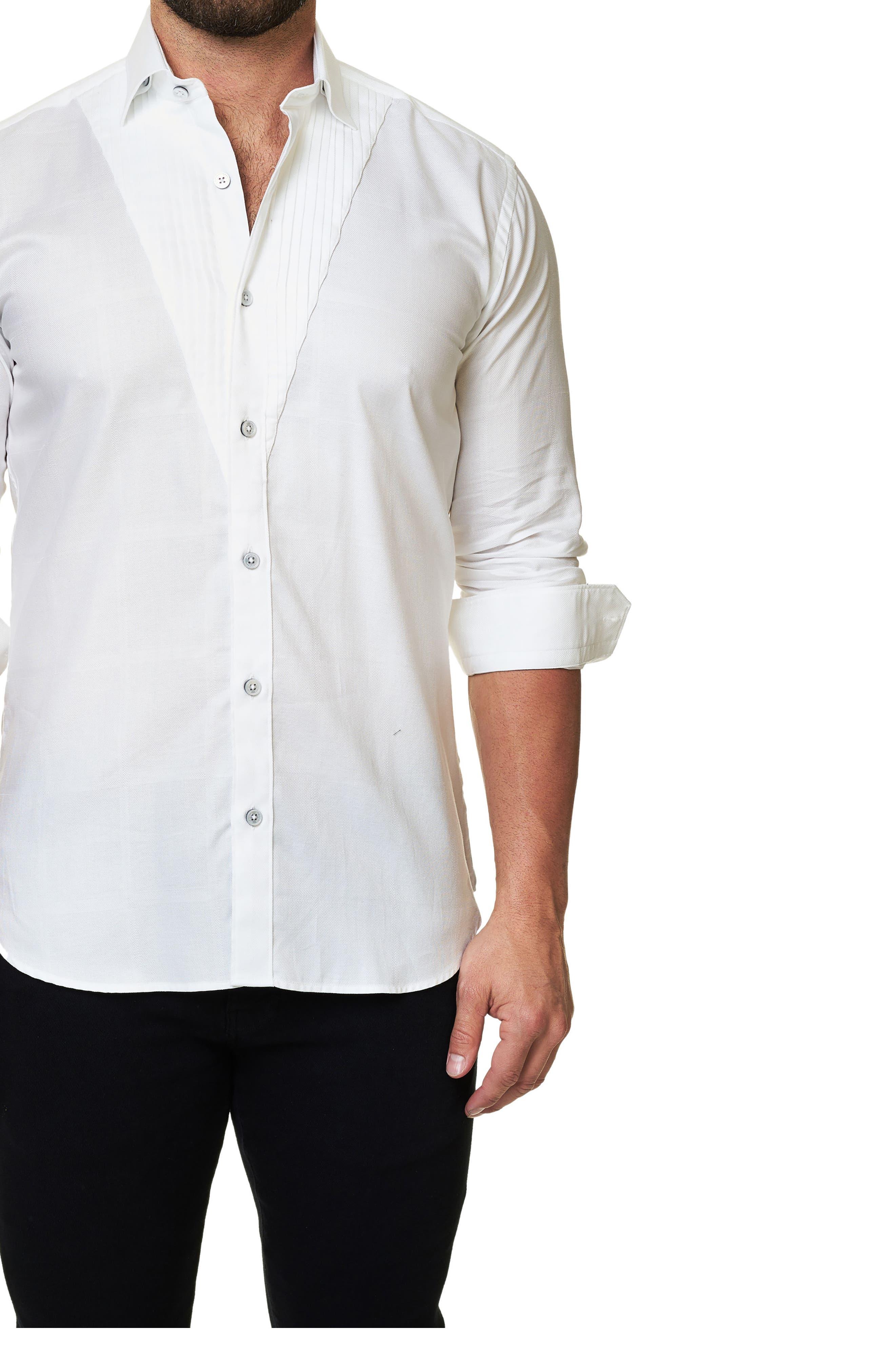 Trim Fit Tuxedo Panel Sport Shirt,                             Main thumbnail 1, color,                             White