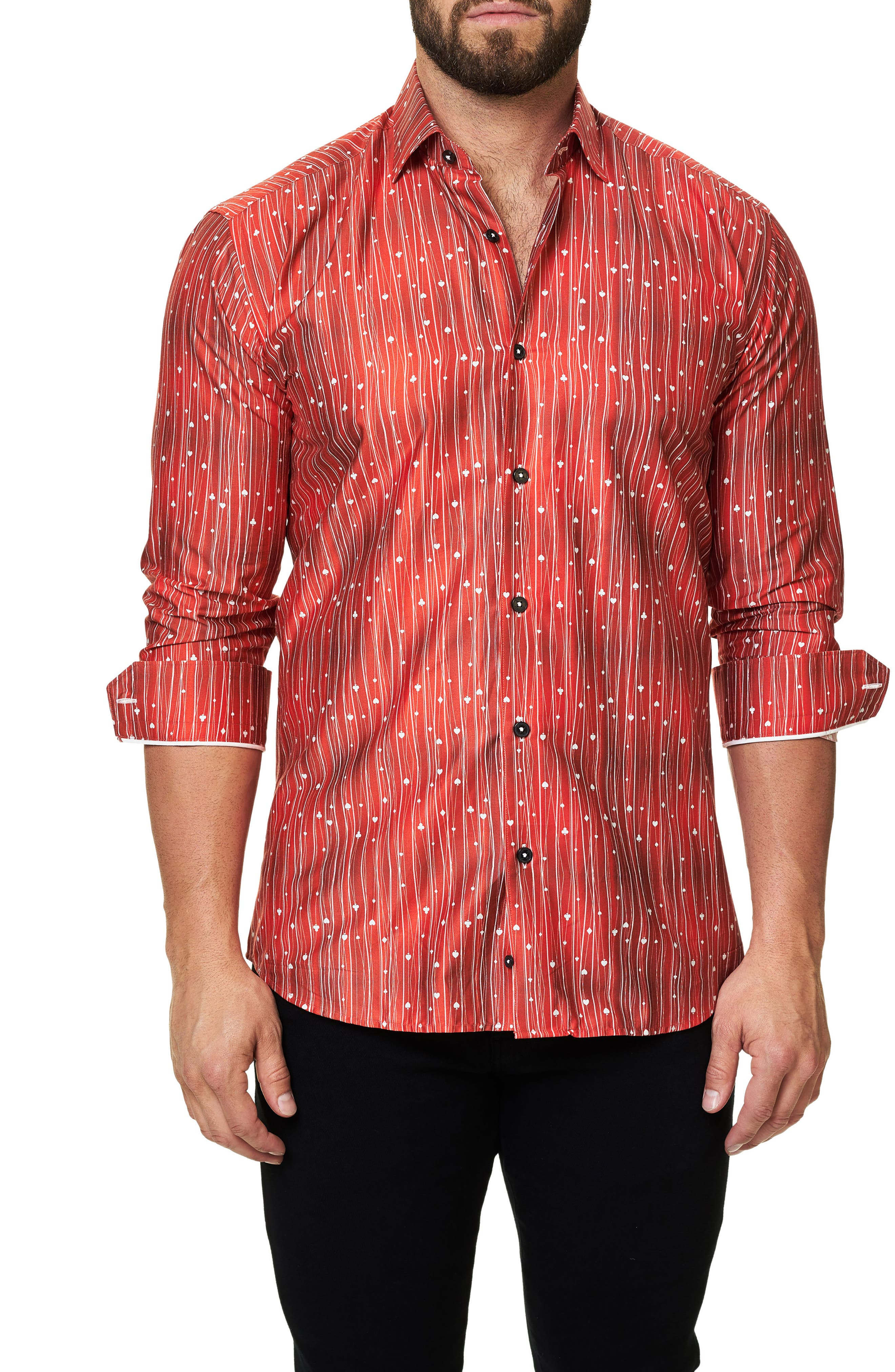 Trim Fit Print Sport Shirt,                         Main,                         color, Red