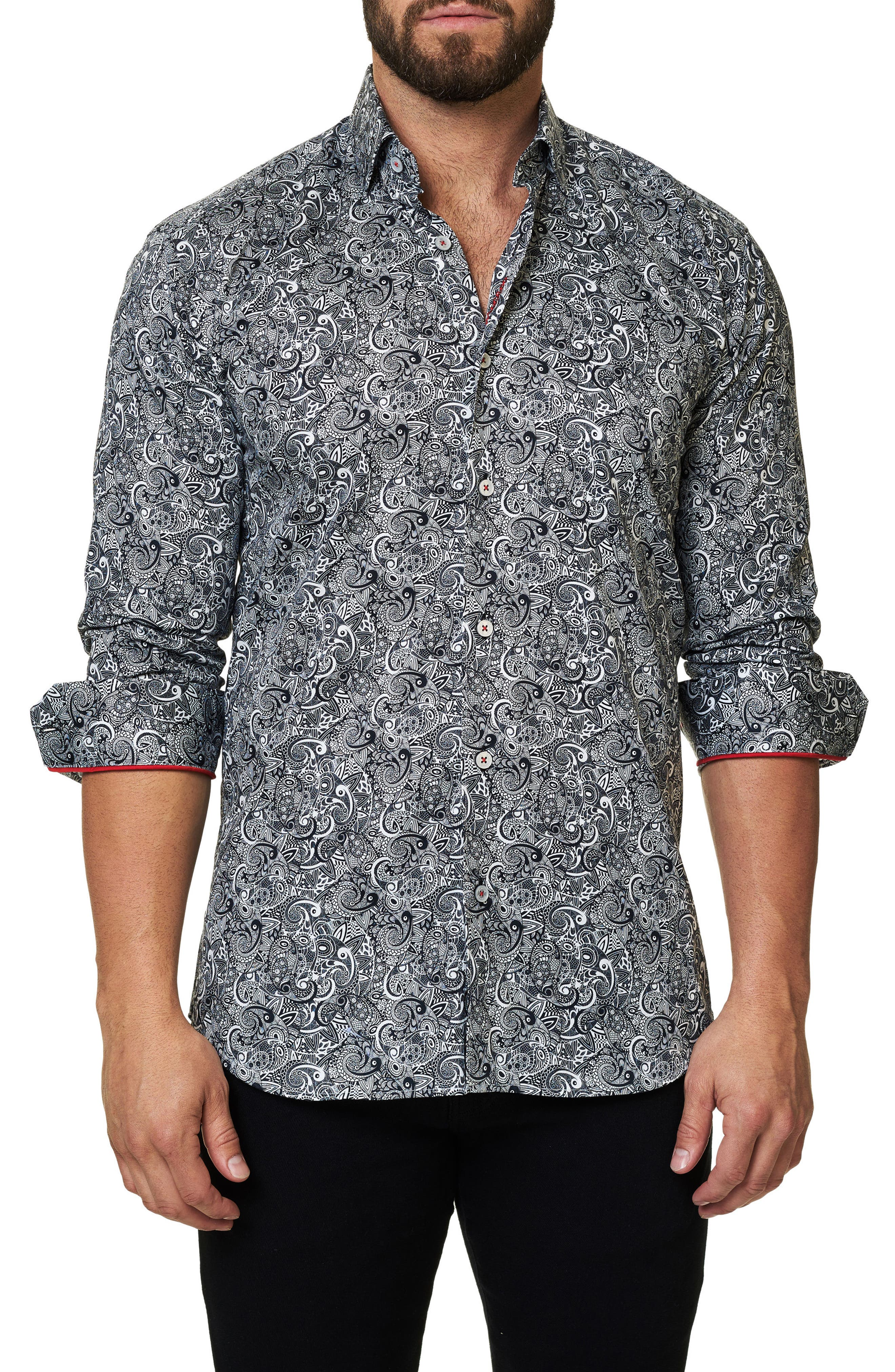 Trim Fit Paisley Print Sport Shirt,                             Main thumbnail 1, color,                             Black