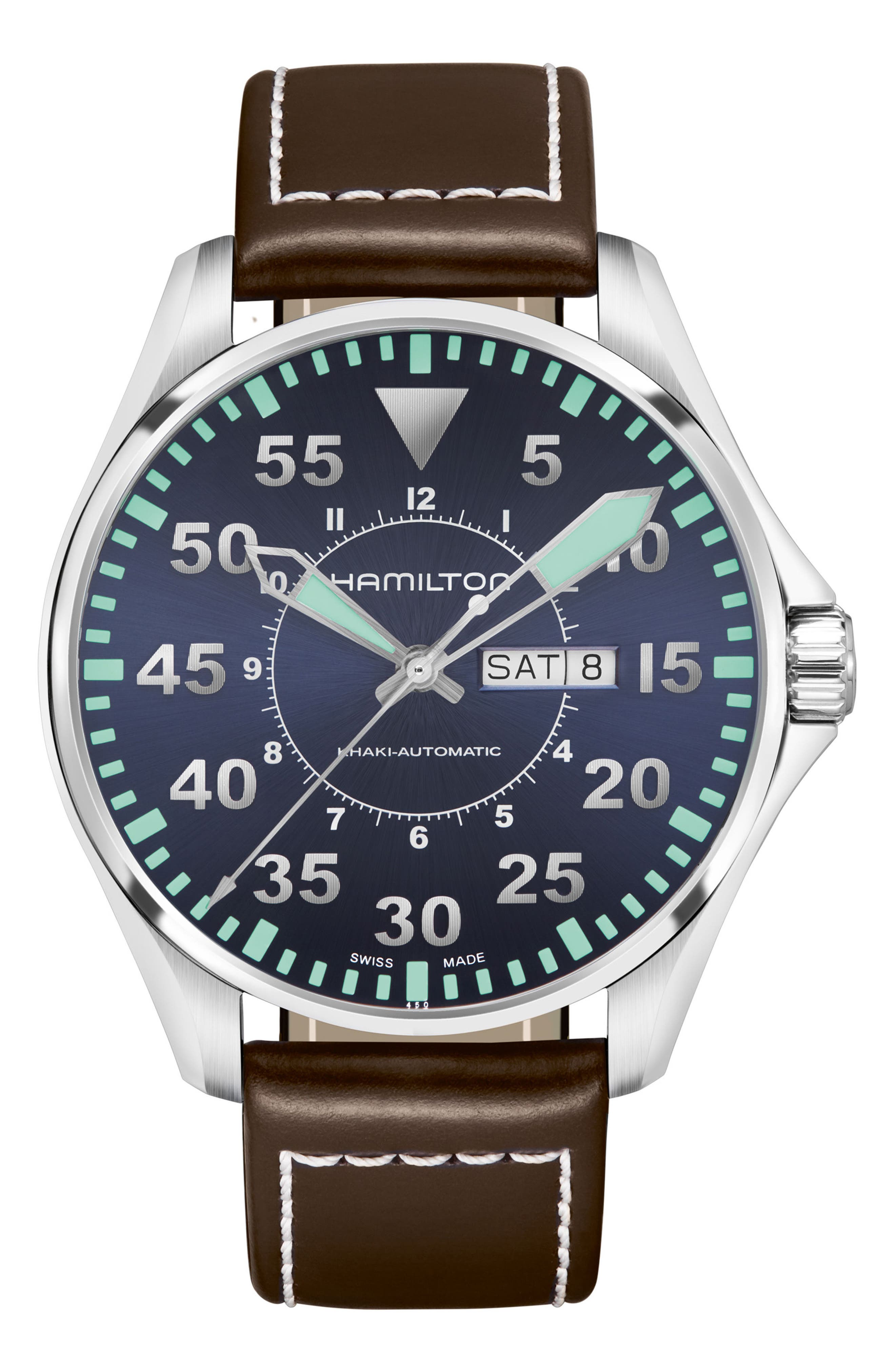 Khaki Aviation Automatic Leather Strap Watch, 46mm,                         Main,                         color, Brown/ Blue/ Silver