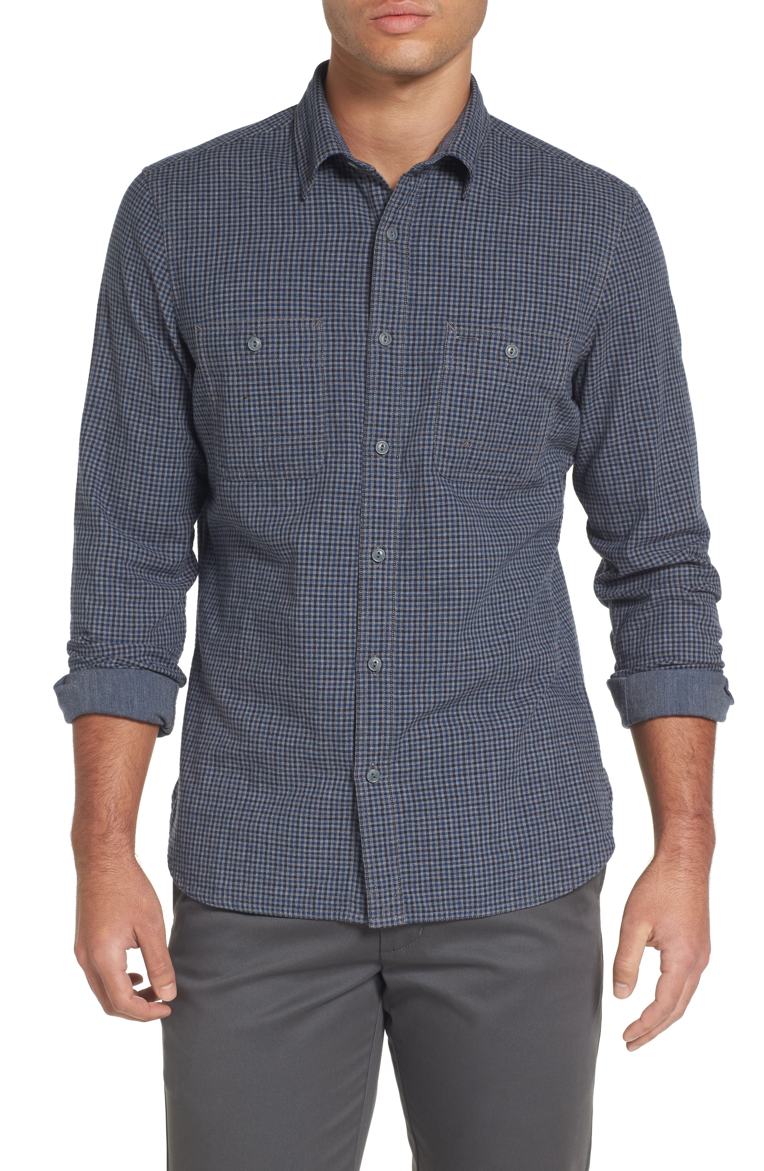 Slim Fit Micro Check Sport Shirt,                         Main,                         color, Grey Phantom Navy Check