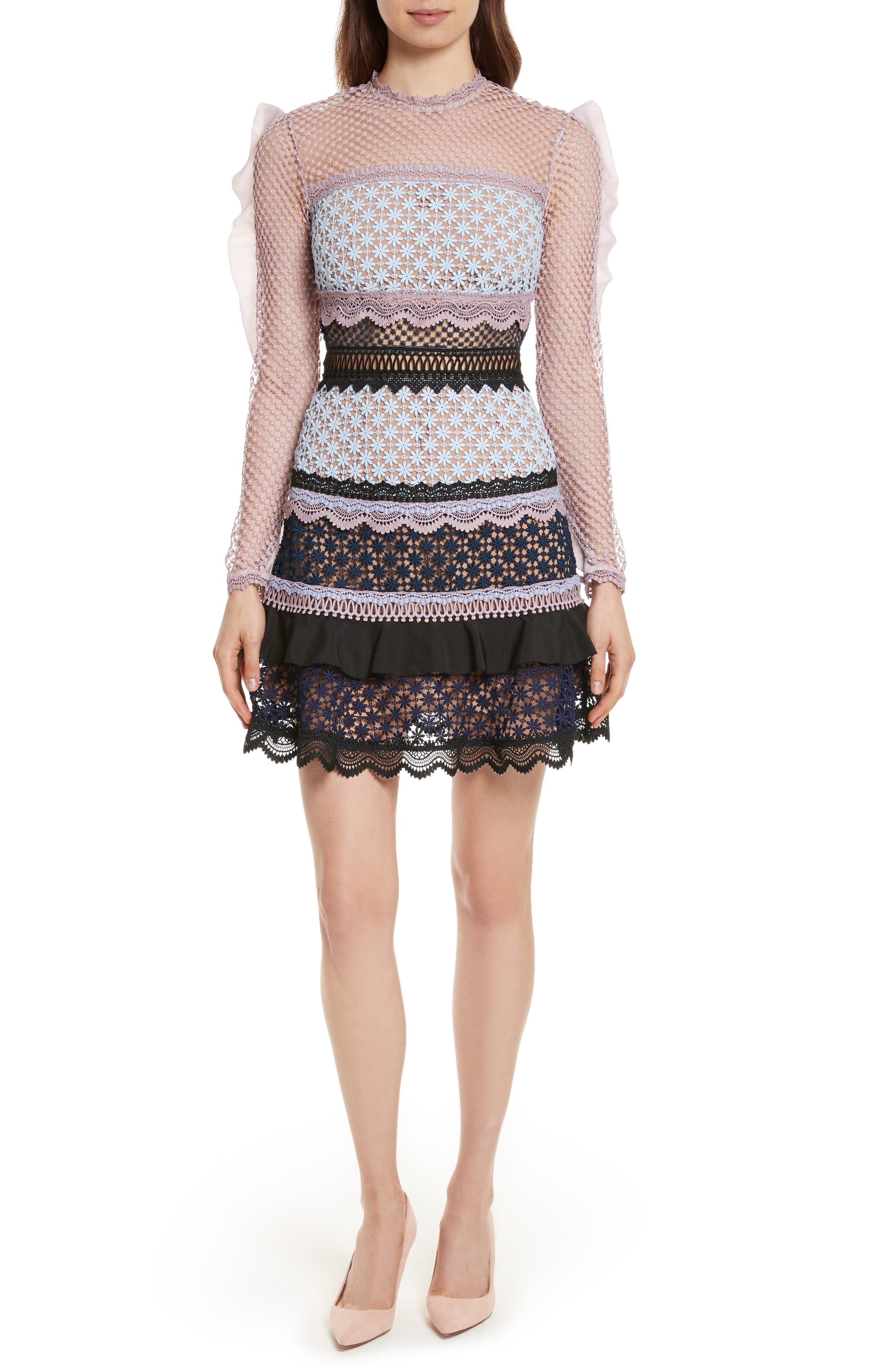 Bellis Frill Lace Dress,                         Main,                         color, Blue