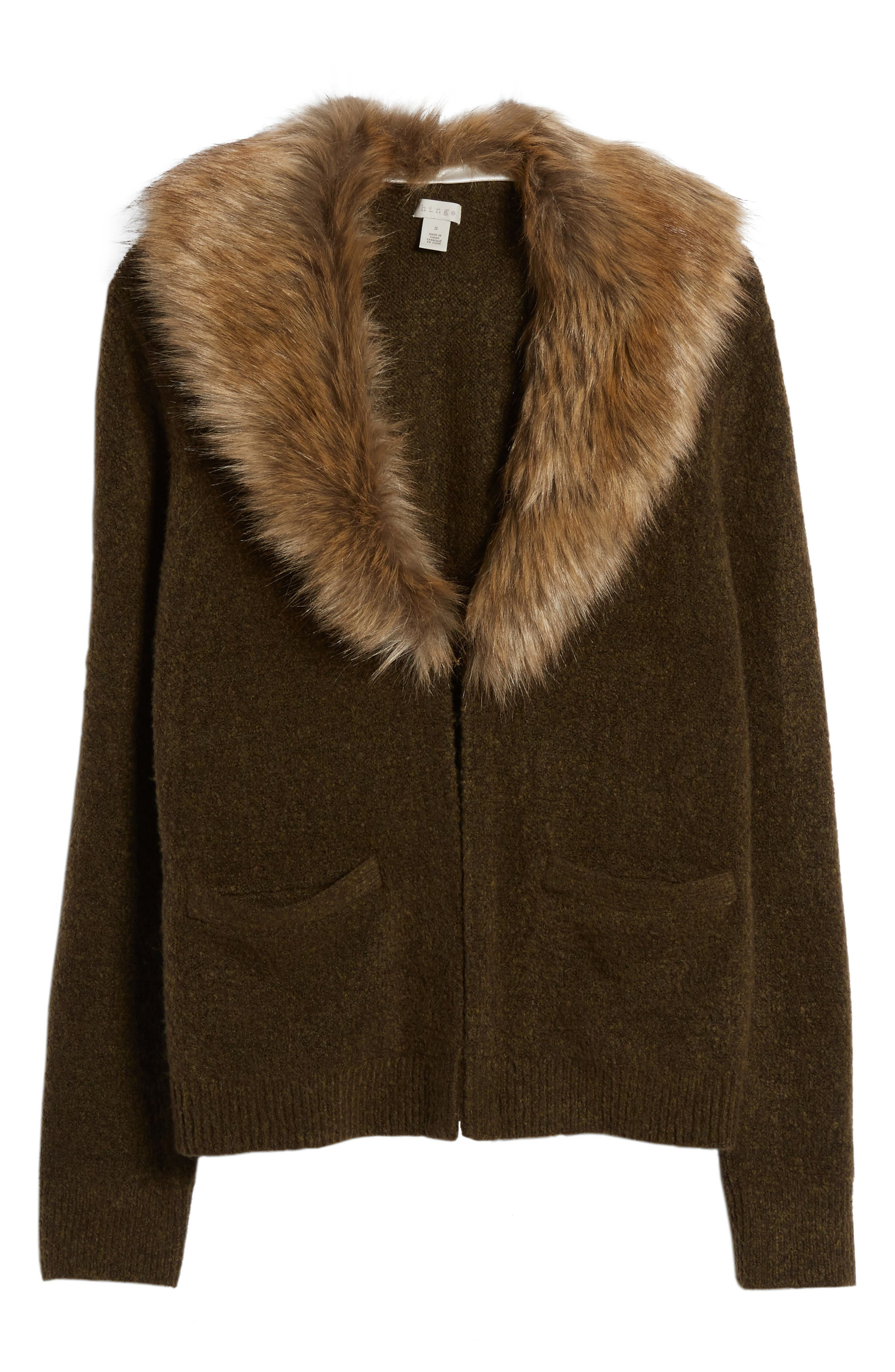 Alternate Image 6  - Hinge Faux Fur Collar Cardigan