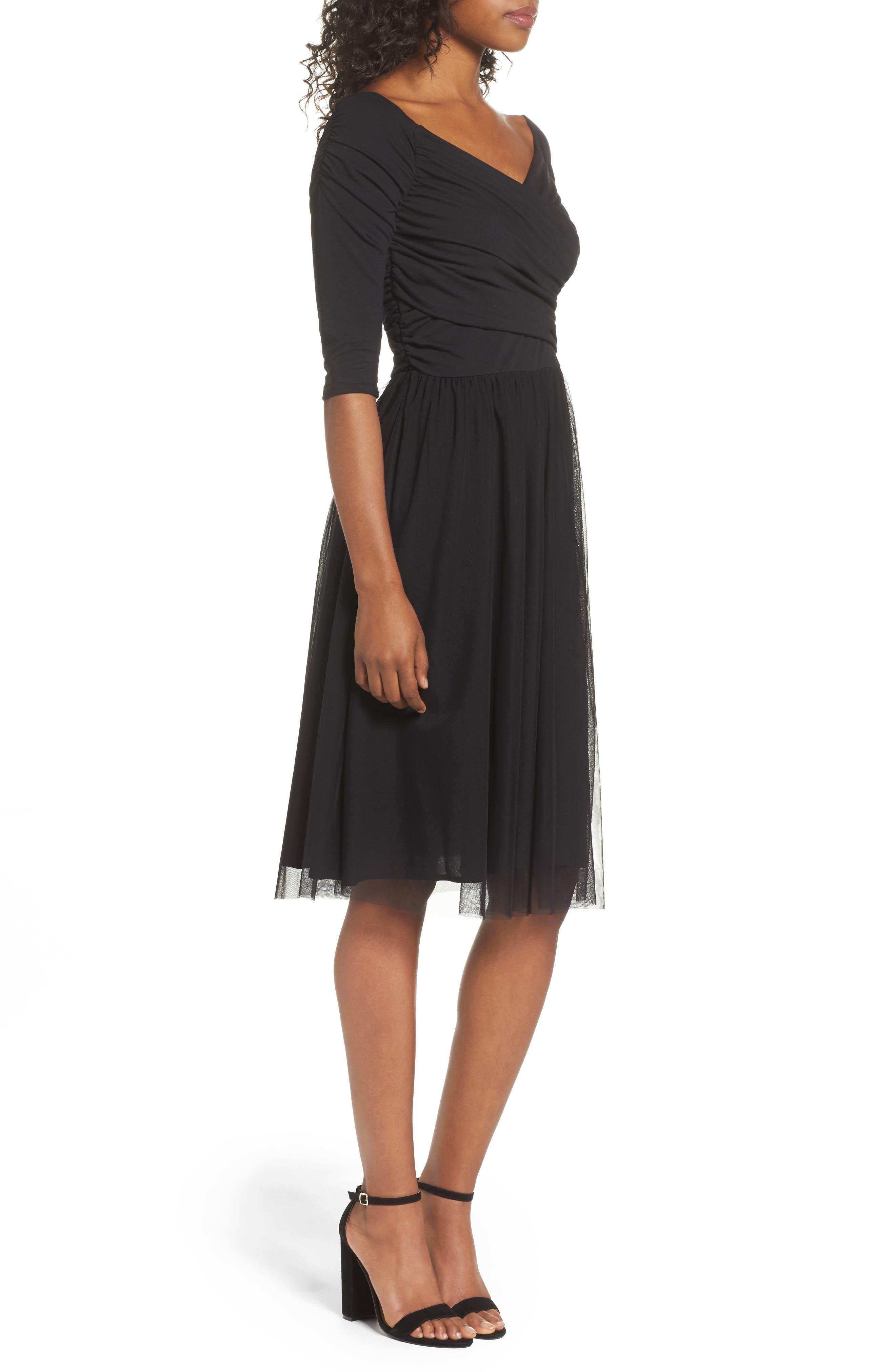 Tulle Fit & Flare Dress,                             Alternate thumbnail 3, color,                             Black