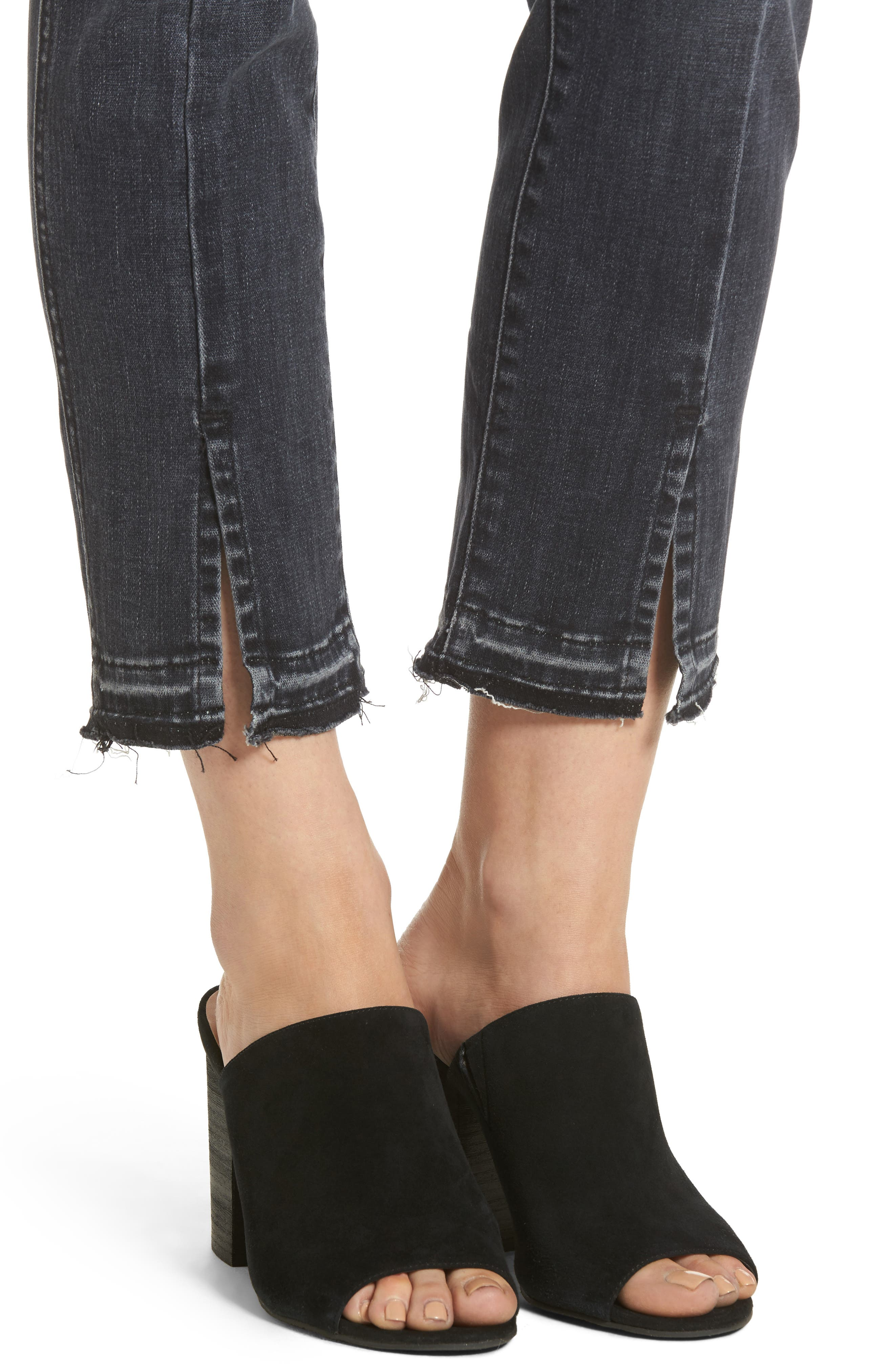 Split Hem Ankle Skinny Jeans,                             Alternate thumbnail 4, color,                             Vintage Noir