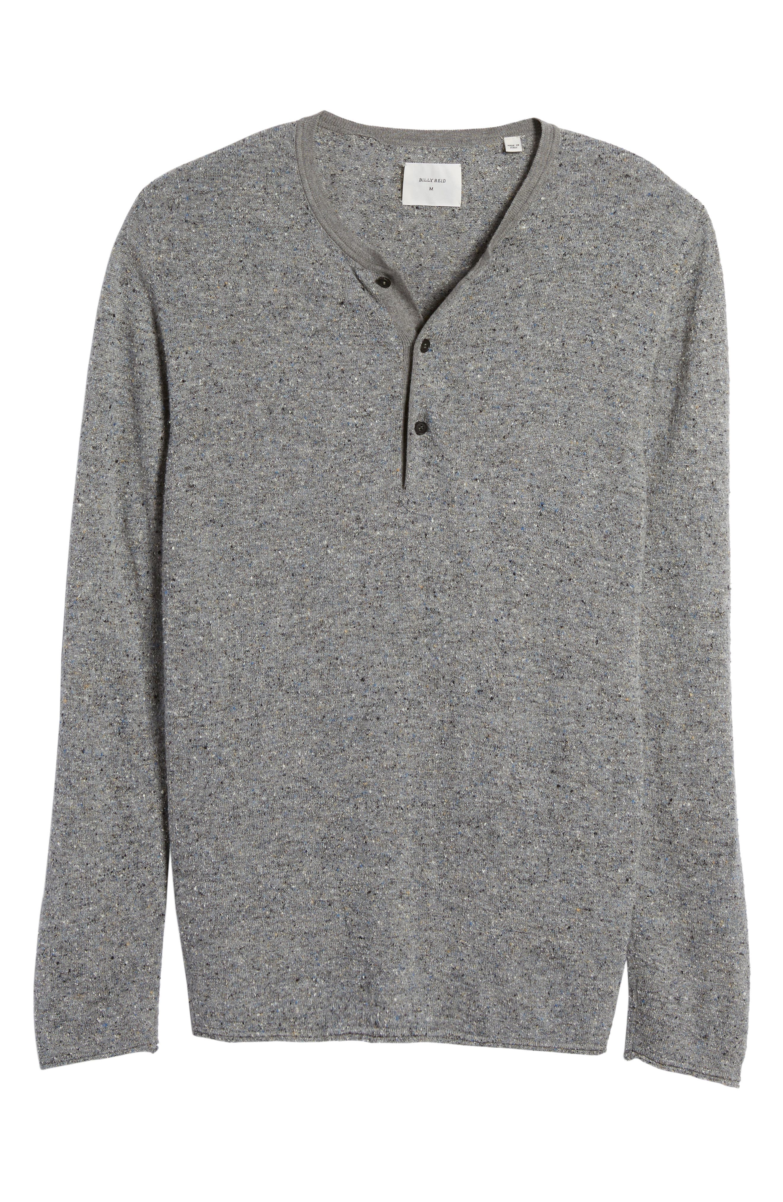 Speckled Henley Sweater,                             Alternate thumbnail 6, color,                             Grey Mix