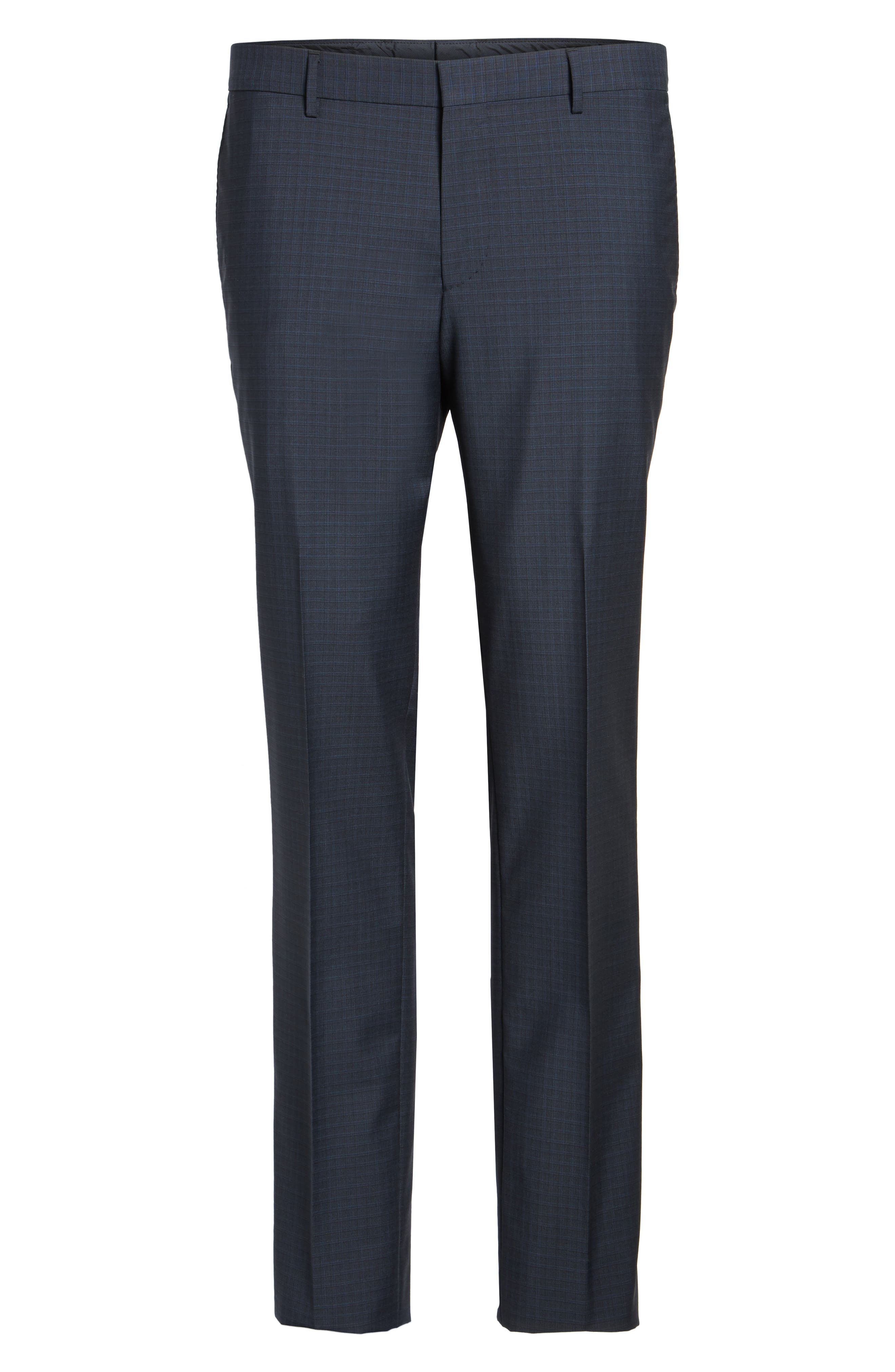 Benso Flat Front Check Wool Trousers,                             Alternate thumbnail 6, color,                             Navy
