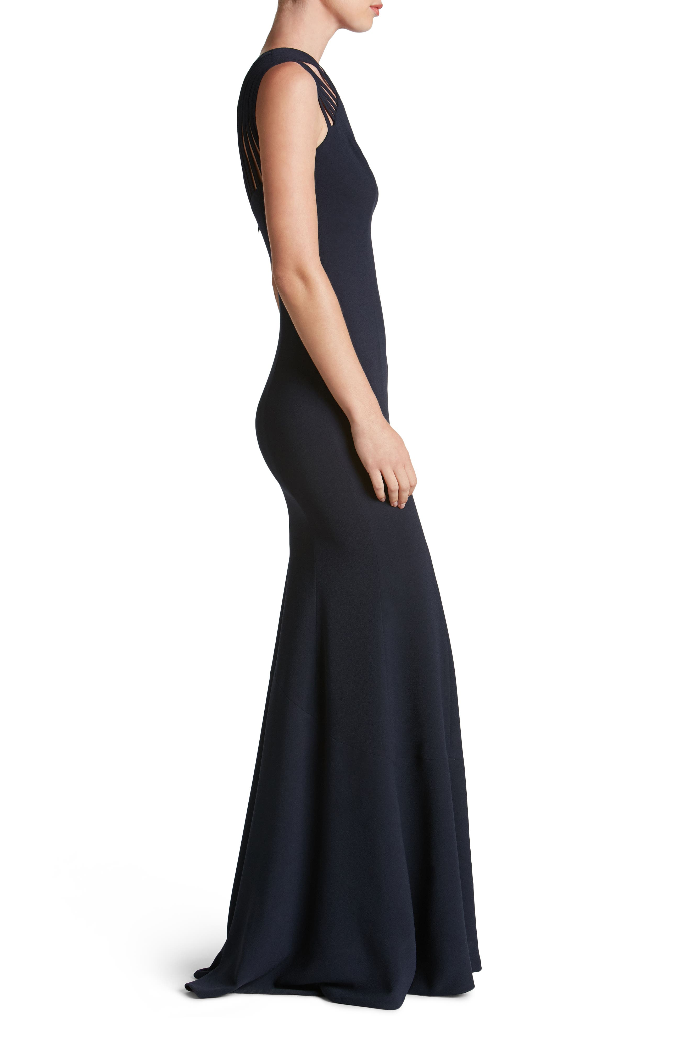 Harlow Crepe Gown,                             Alternate thumbnail 3, color,                             Navy