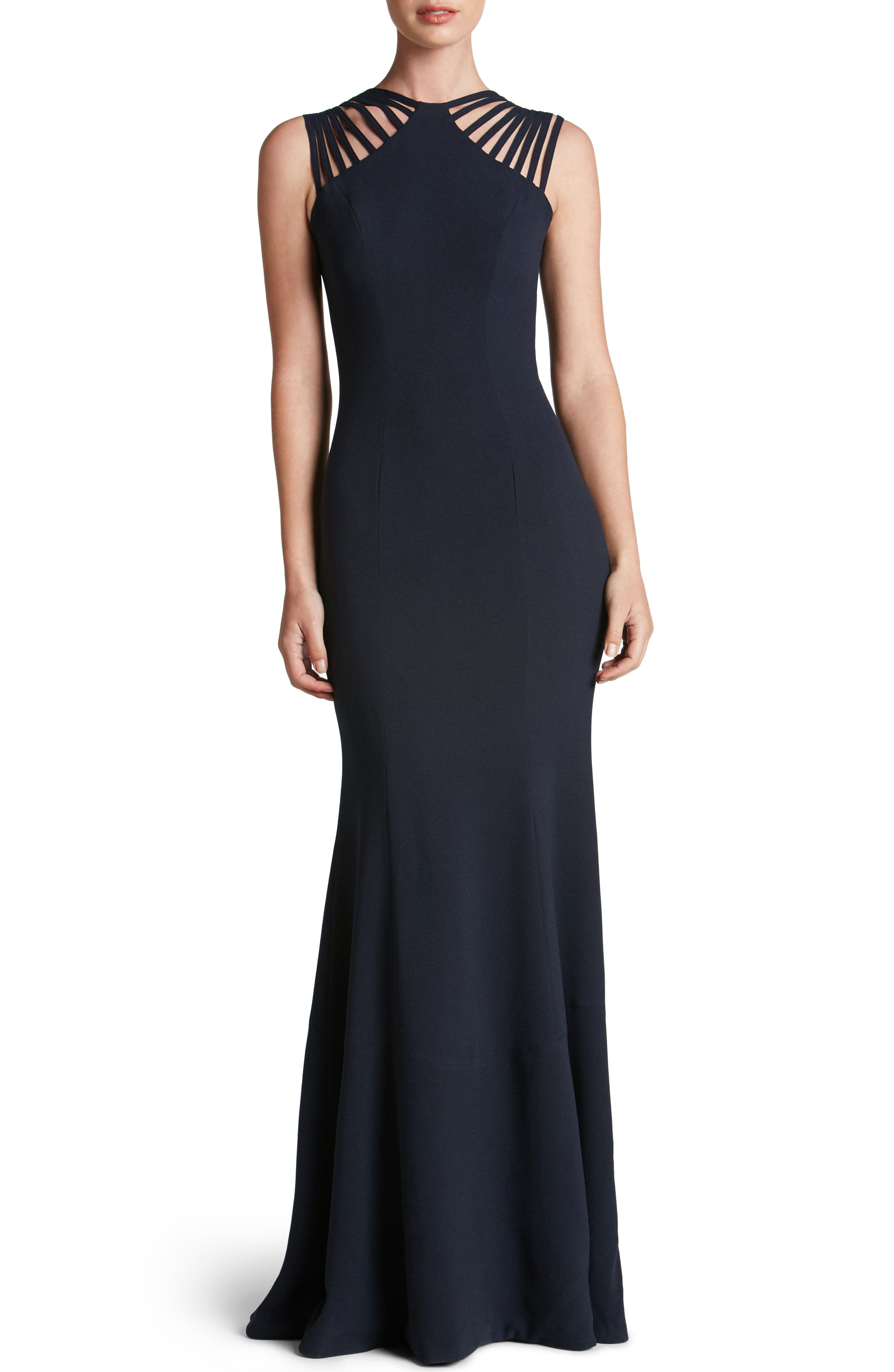 Harlow Crepe Gown,                             Main thumbnail 1, color,                             Navy