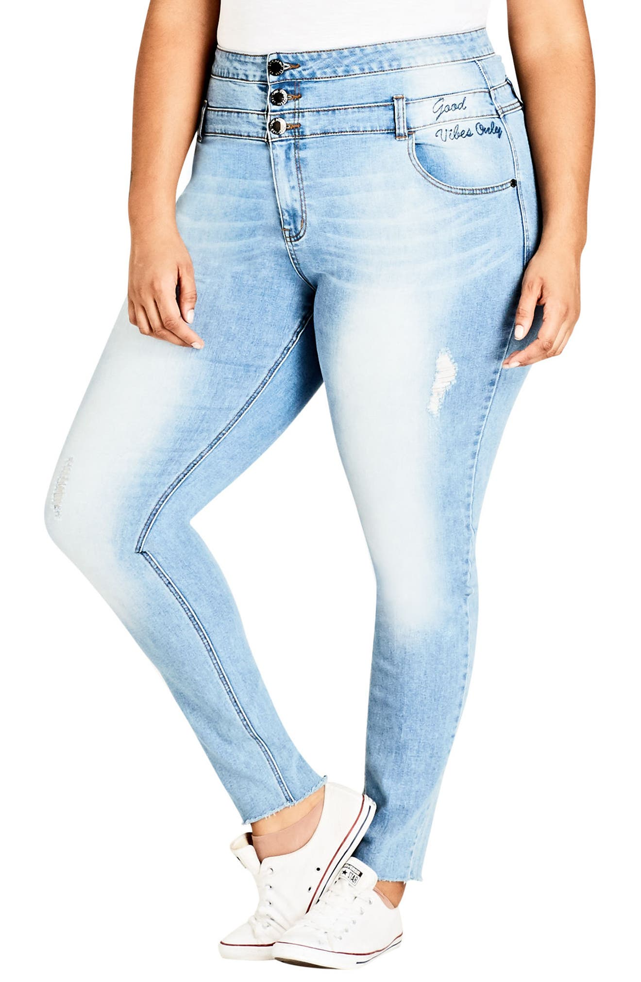 Harley Vibes Ripped Corset Skinny Jeans,                         Main,                         color, Light Indigo