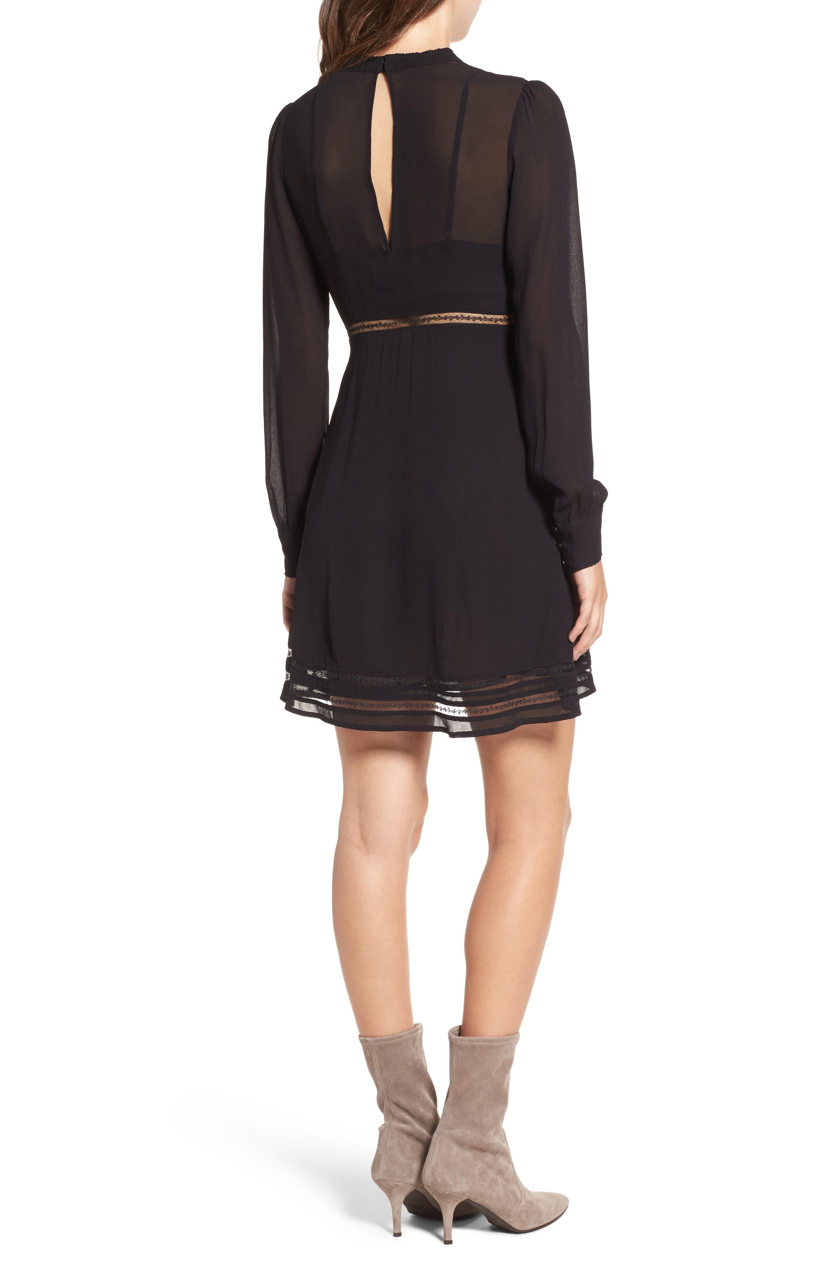 Kirsten A-Line Dress,                             Alternate thumbnail 2, color,                             Black