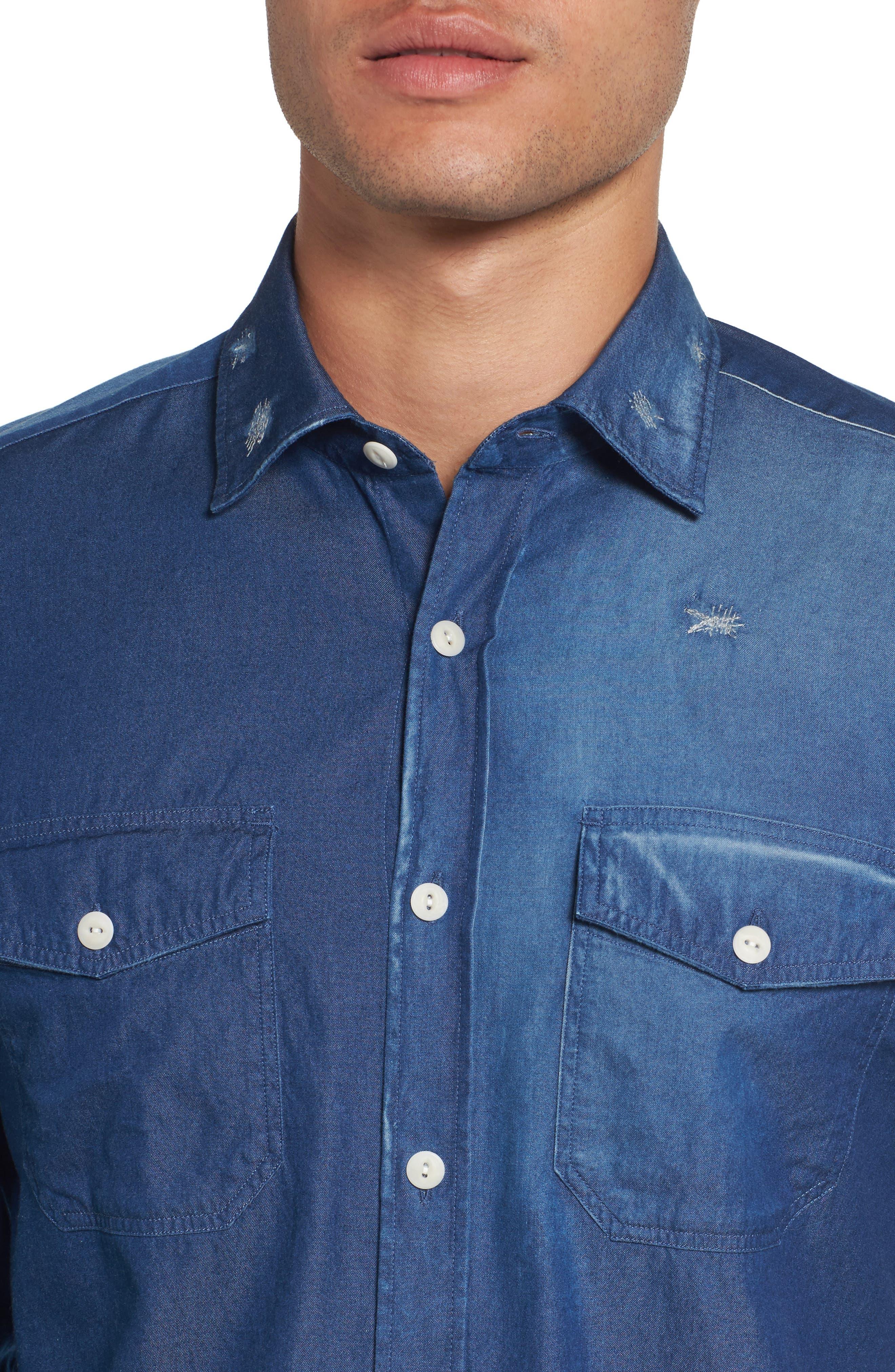 Italian Fade Wash Sport Shirt,                             Alternate thumbnail 4, color,                             Blue