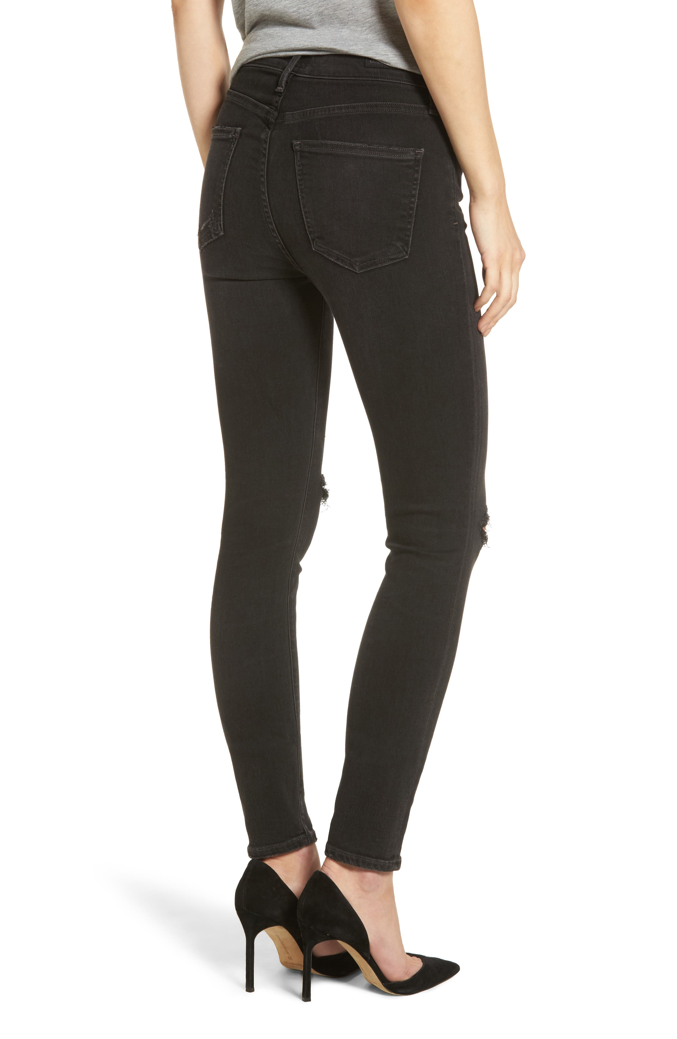 Rocket High Waist Skinny Jeans,                             Alternate thumbnail 2, color,                             Distressed Darkness