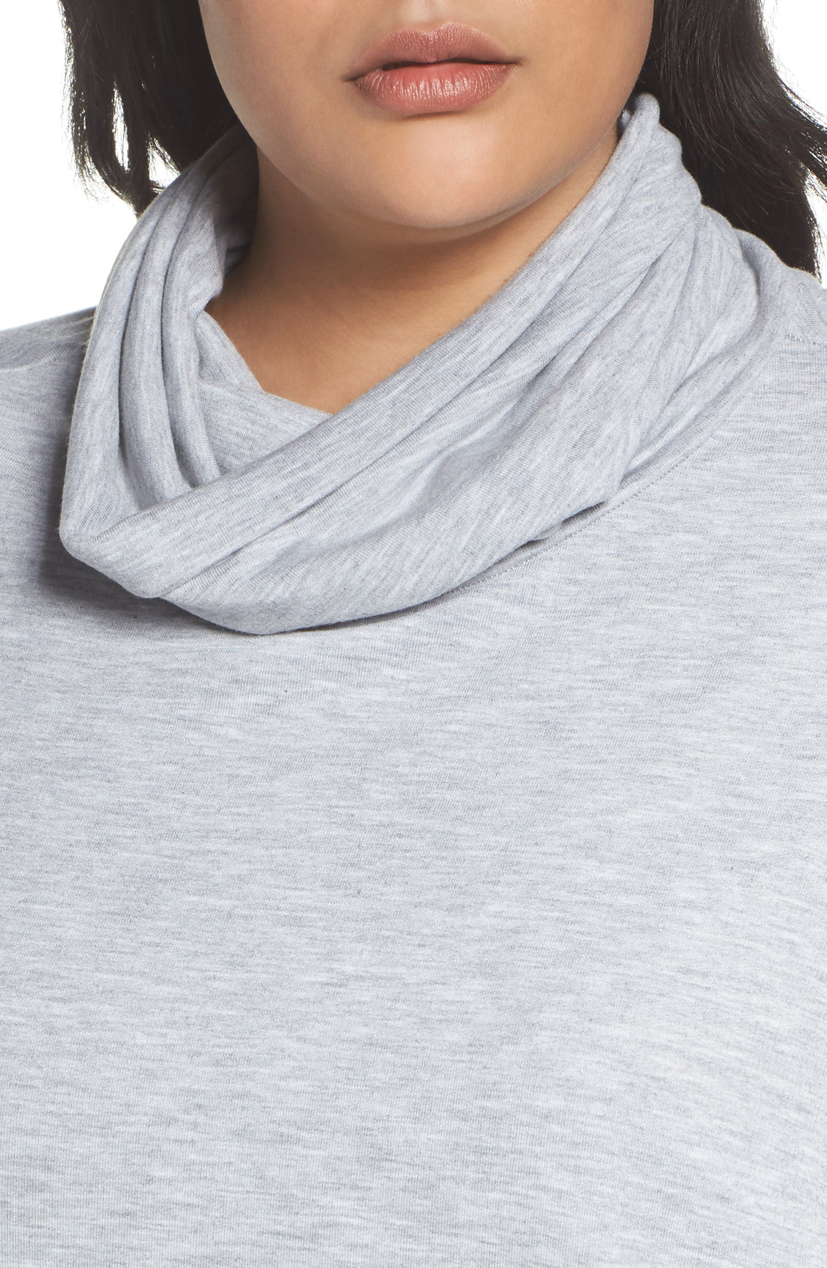 Cowl Neck Tunic,                             Alternate thumbnail 4, color,                             Grey Heather