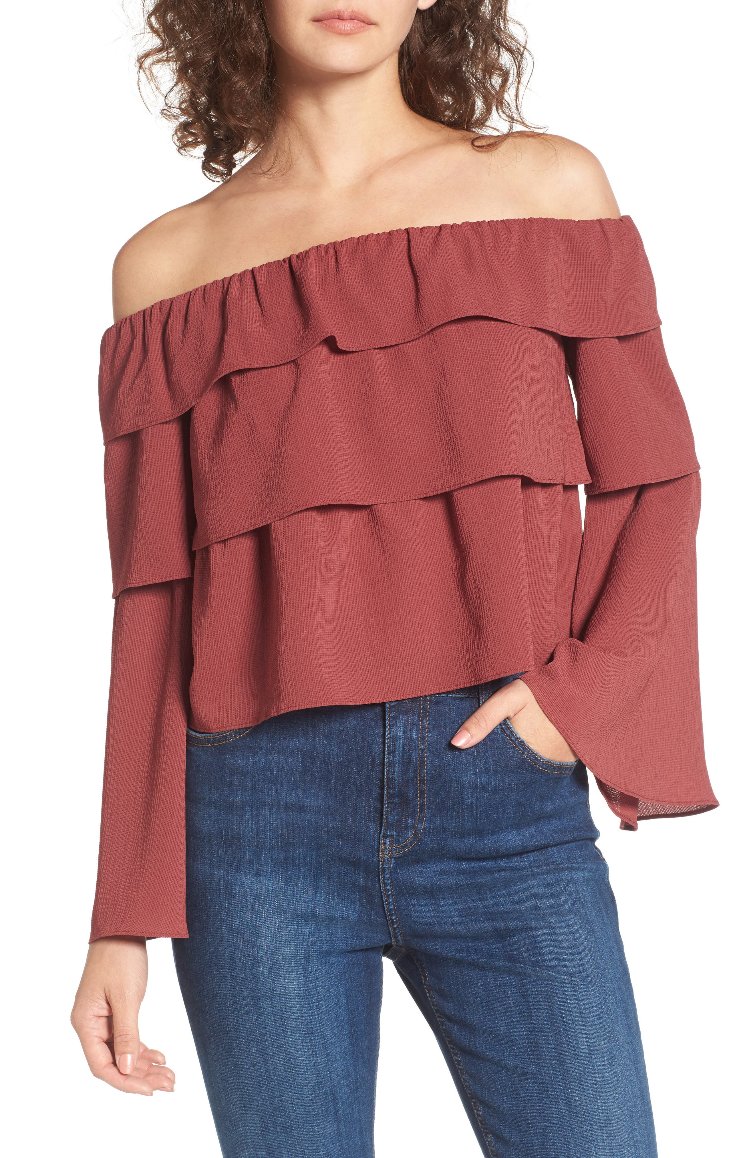 Ruffle Off the Shoulder Top,                         Main,                         color, Rust