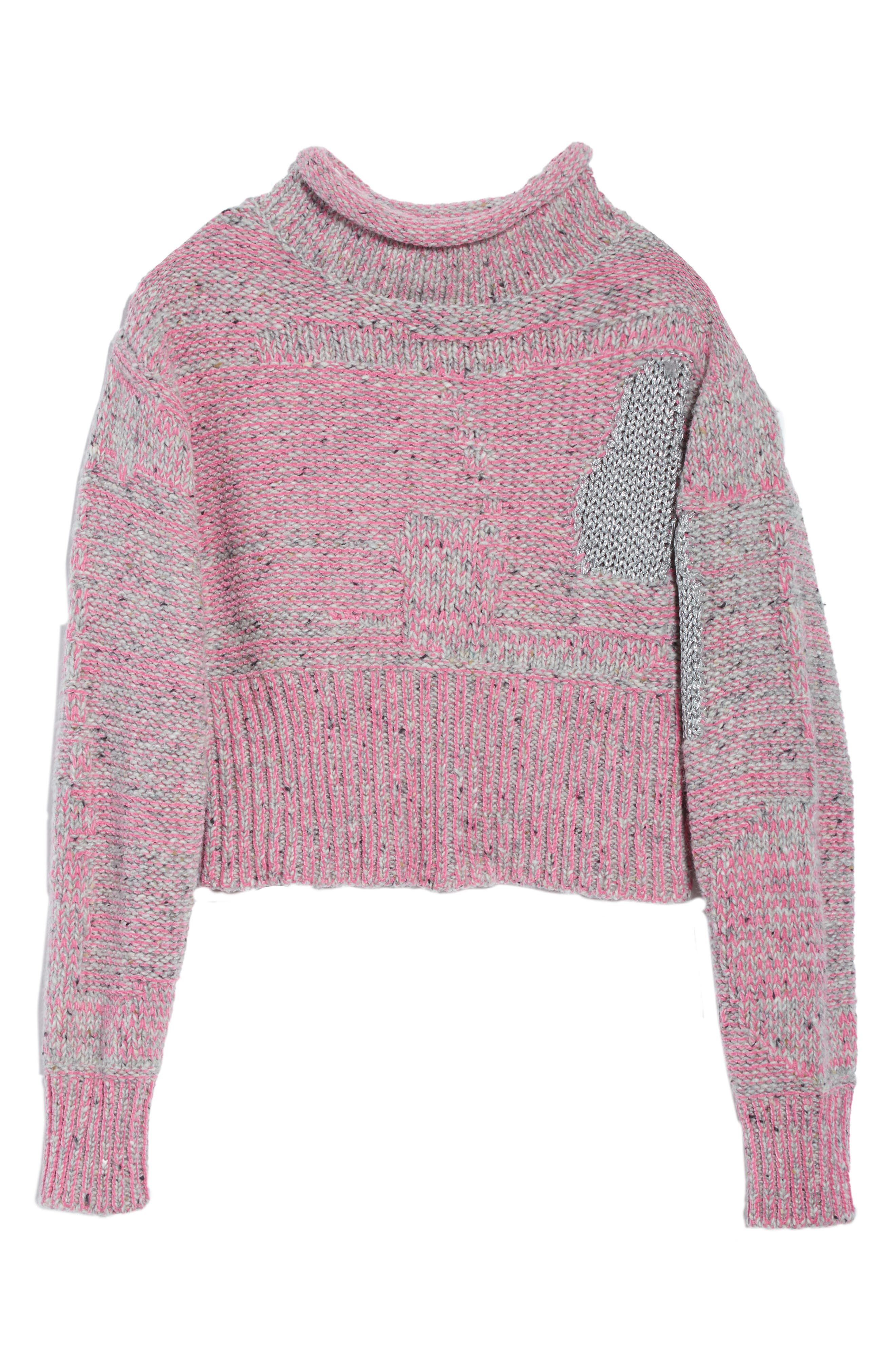 Wool Blend Funnel Neck Sweater,                             Alternate thumbnail 6, color,                             Candy Pink