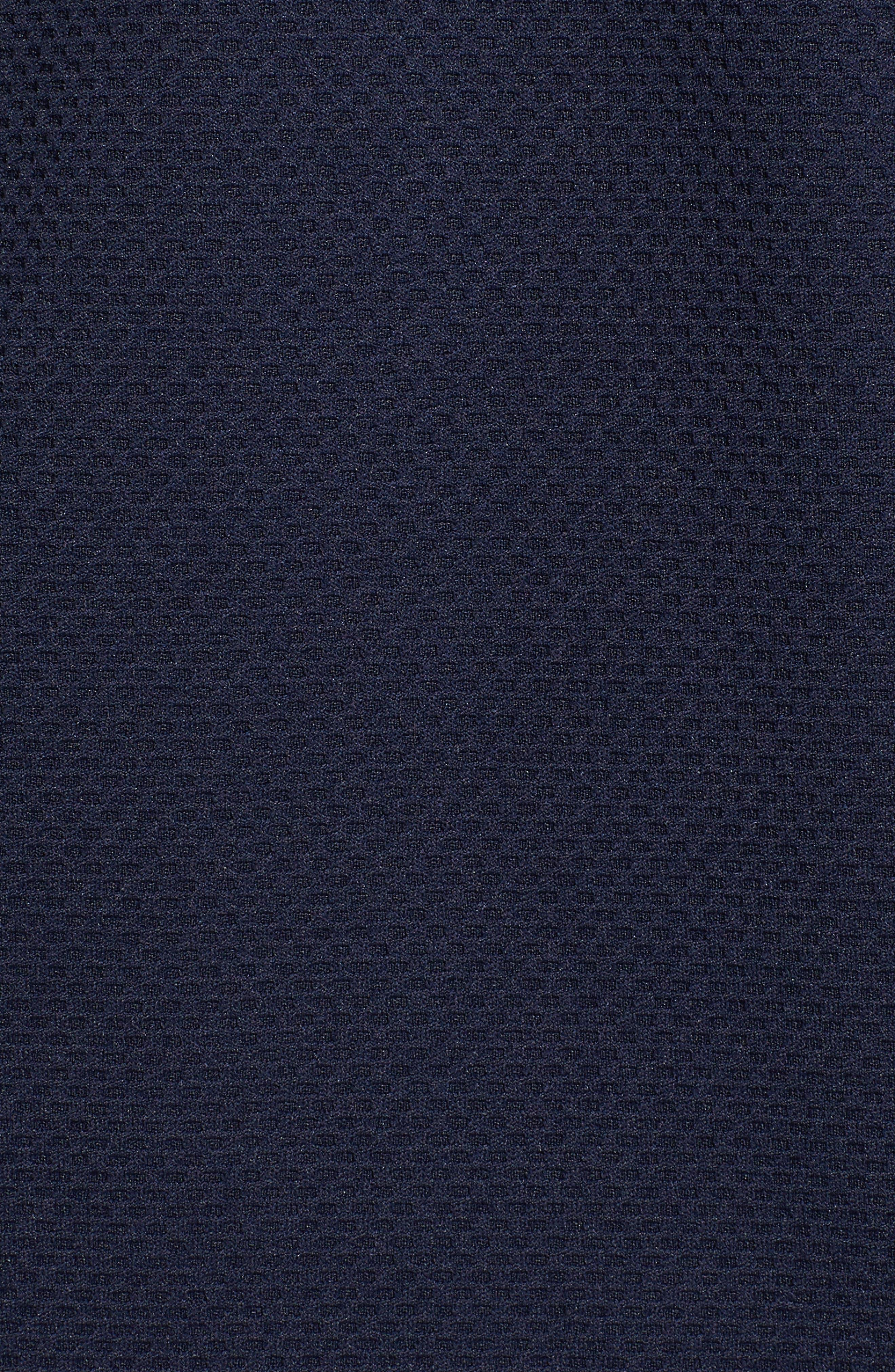 Slim Fit Quarter Zip Mesh Polo,                             Alternate thumbnail 5, color,                             Navy