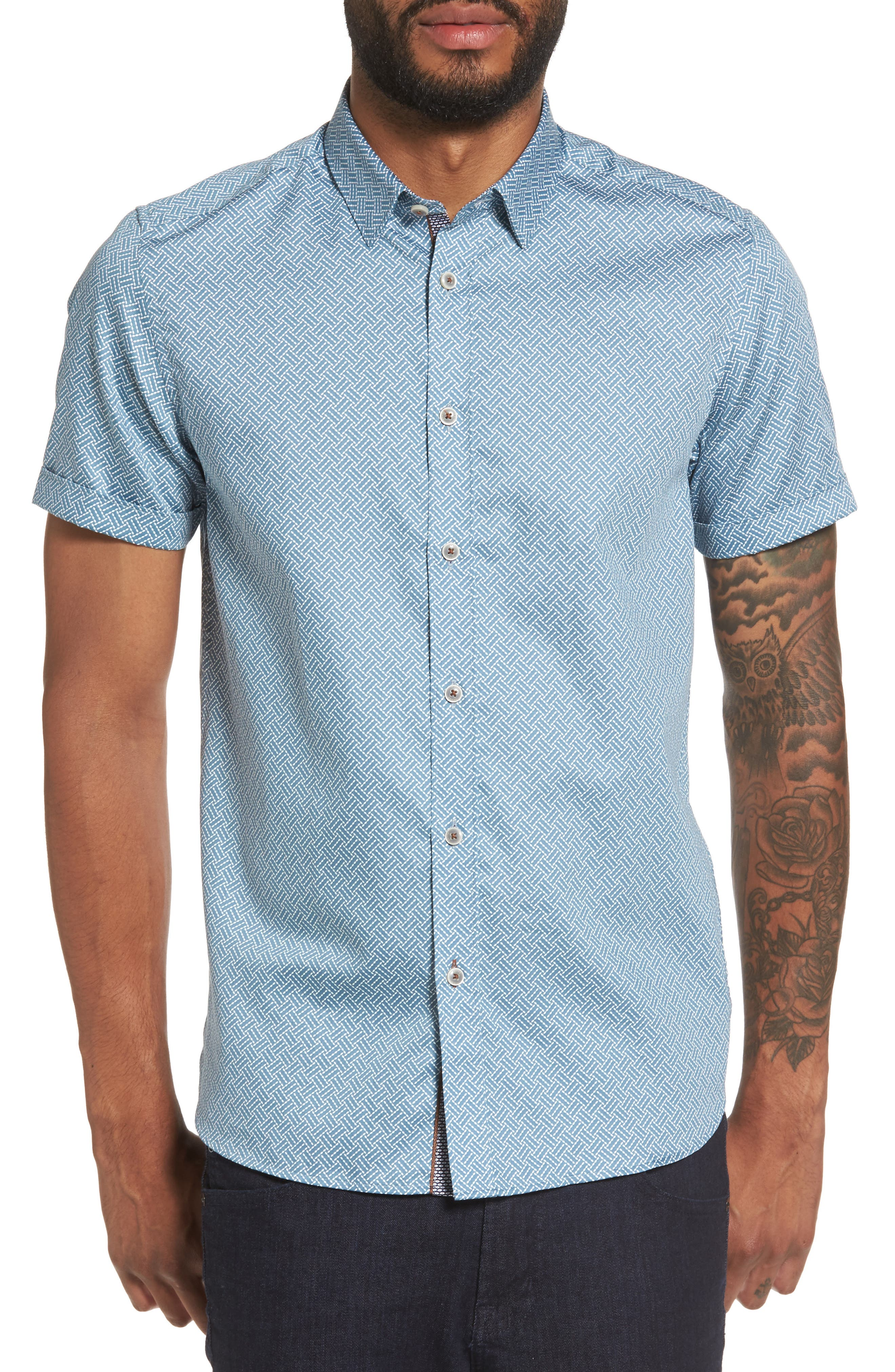 Main Image - Ted Baker London Lashore Basketweave Print Woven Shirt