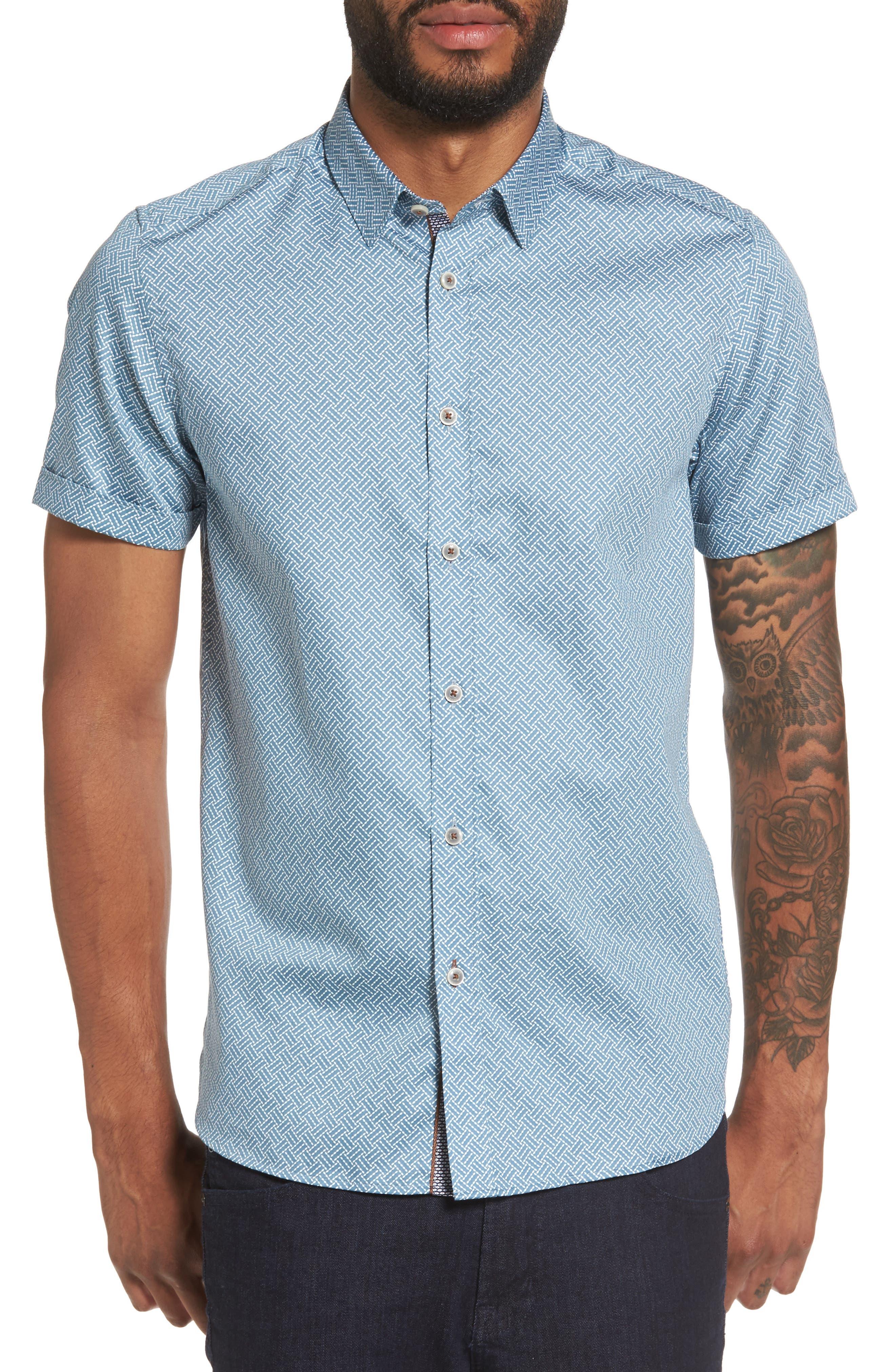 Lashore Basketweave Print Woven Shirt,                         Main,                         color, Blue