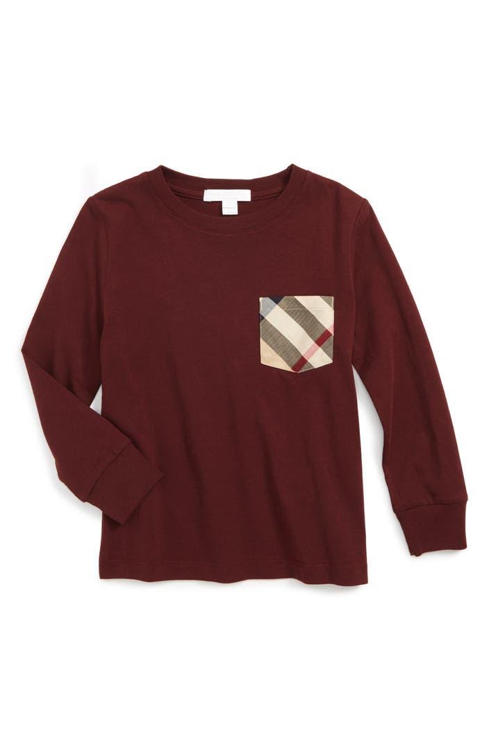 Burberry check print chest pocket t shirt little boys for Boys pocket t shirt
