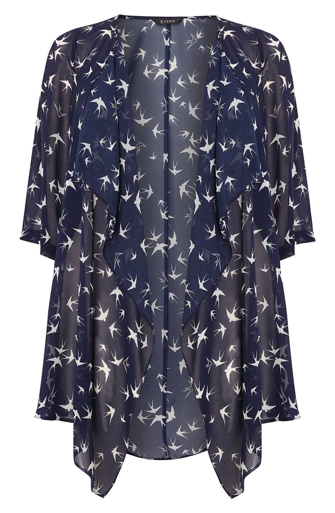 Evans Bird Print Kimono (Plus Size)