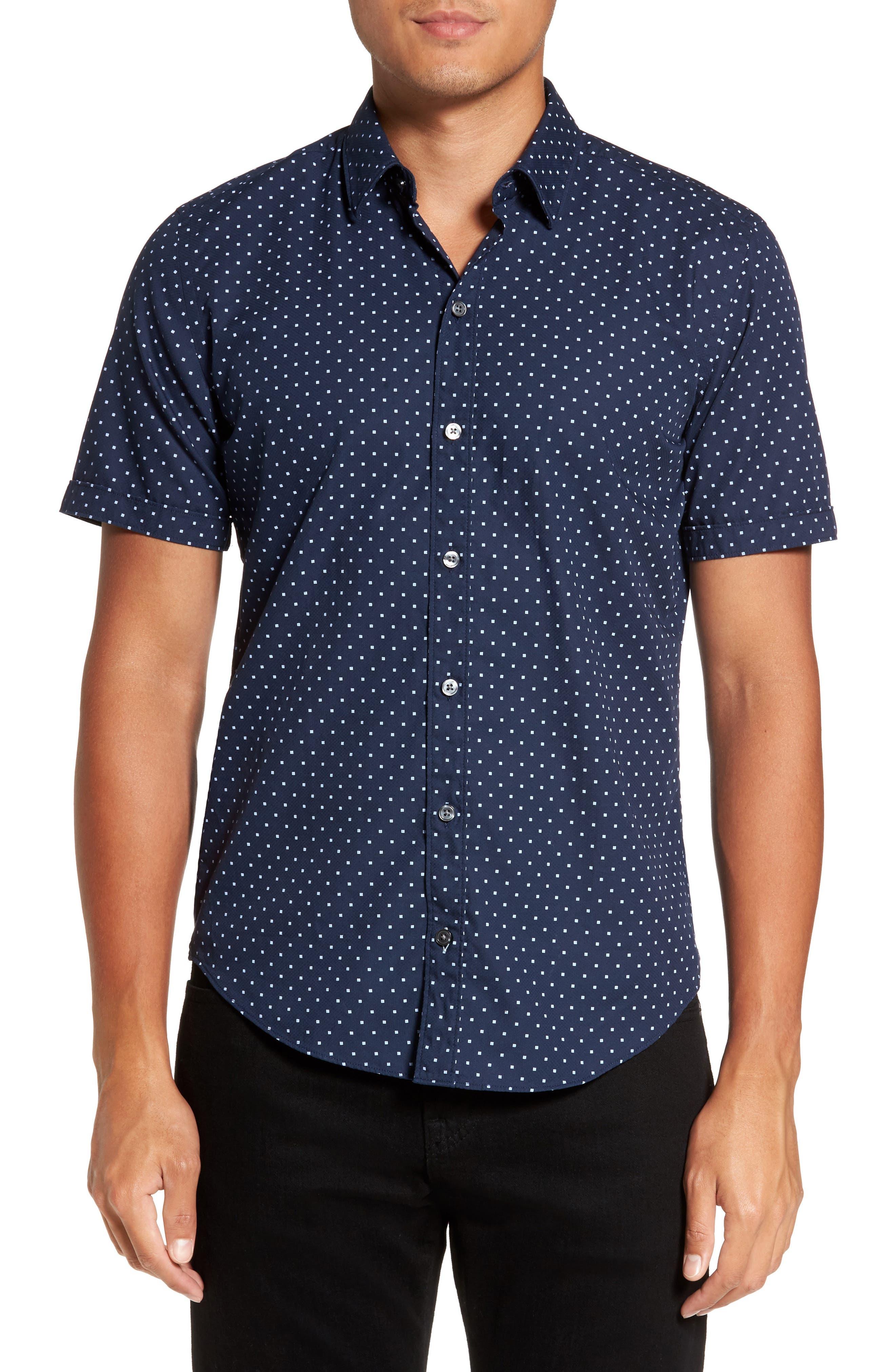 Ronny Trim Dot Print Sport Shirt,                         Main,                         color, Navy