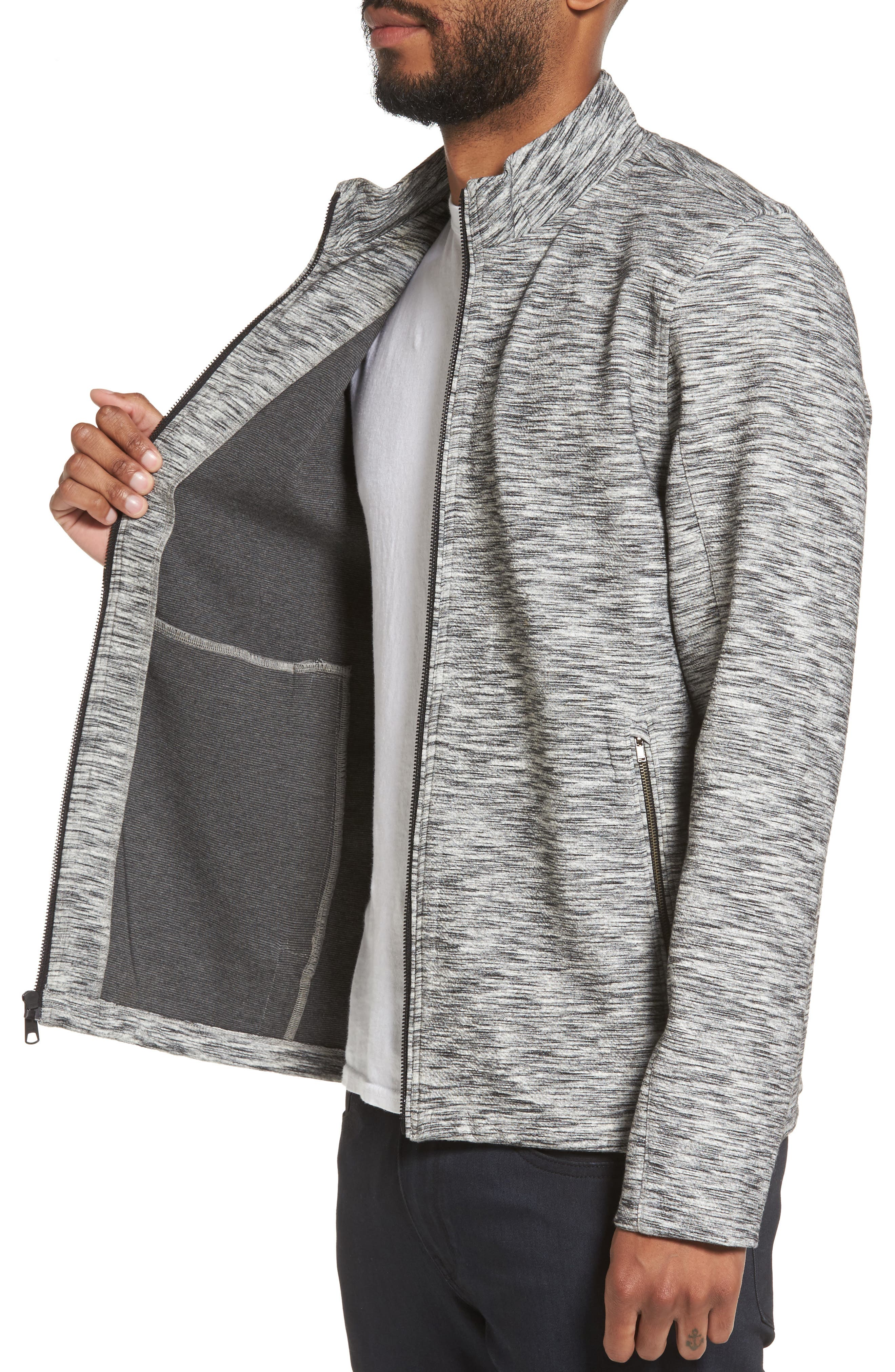 Knit Bomber Jacket,                             Alternate thumbnail 4, color,                             Grey Lunar Spacedye