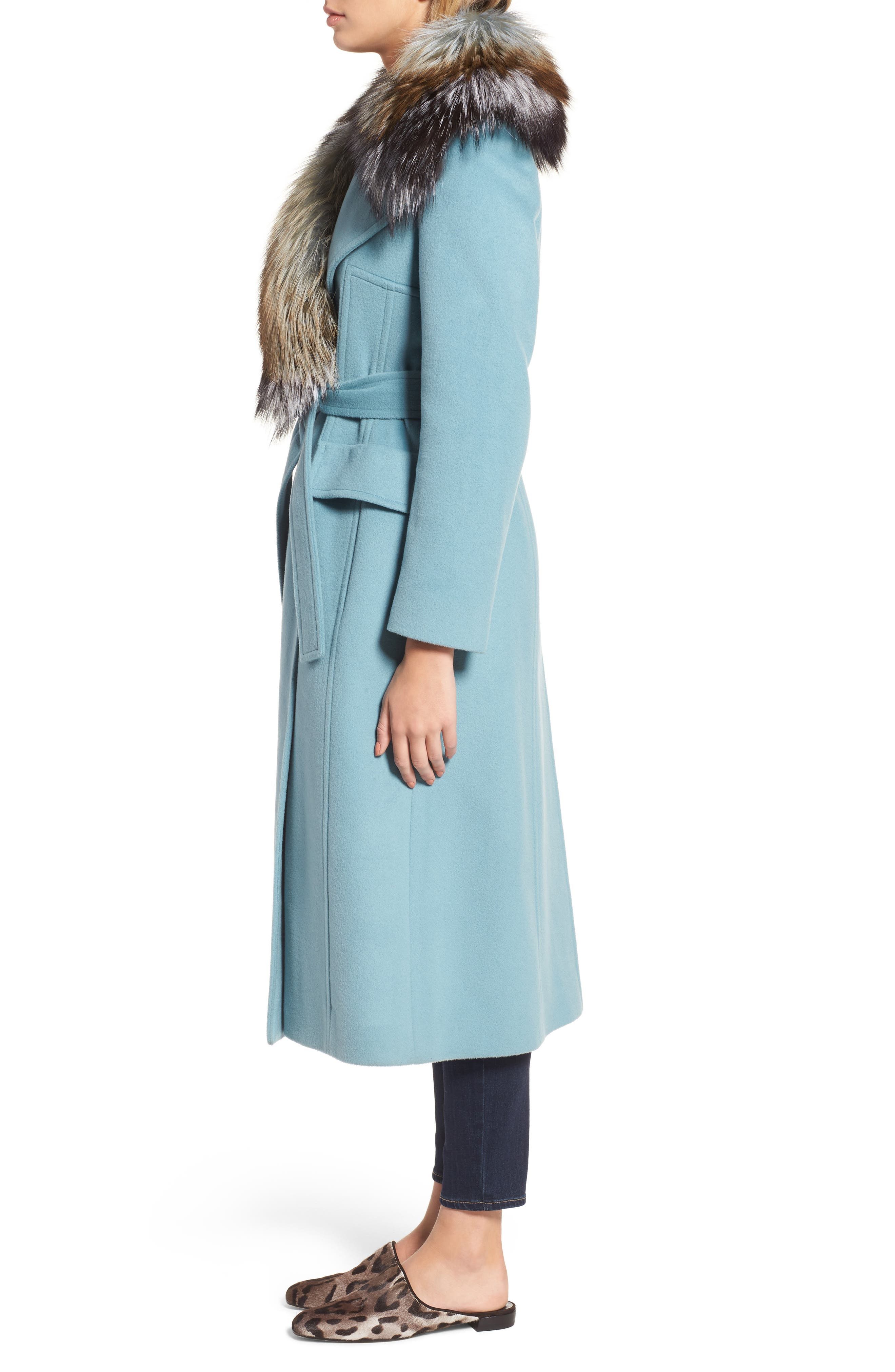 Wool Blend Coat with Removable Genuine Fox Fur Collar,                             Alternate thumbnail 3, color,                             Light Blue