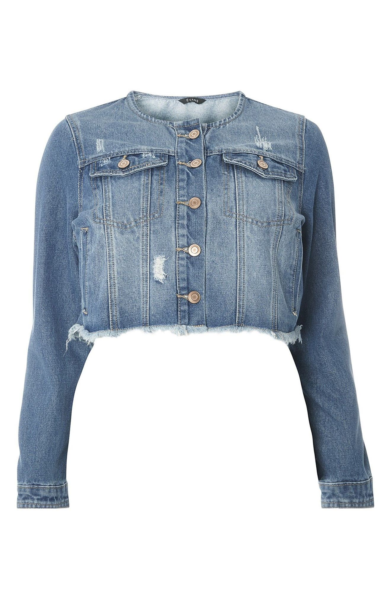 Evans Frayed Crop Denim Shirt Jacket (Plus Size)
