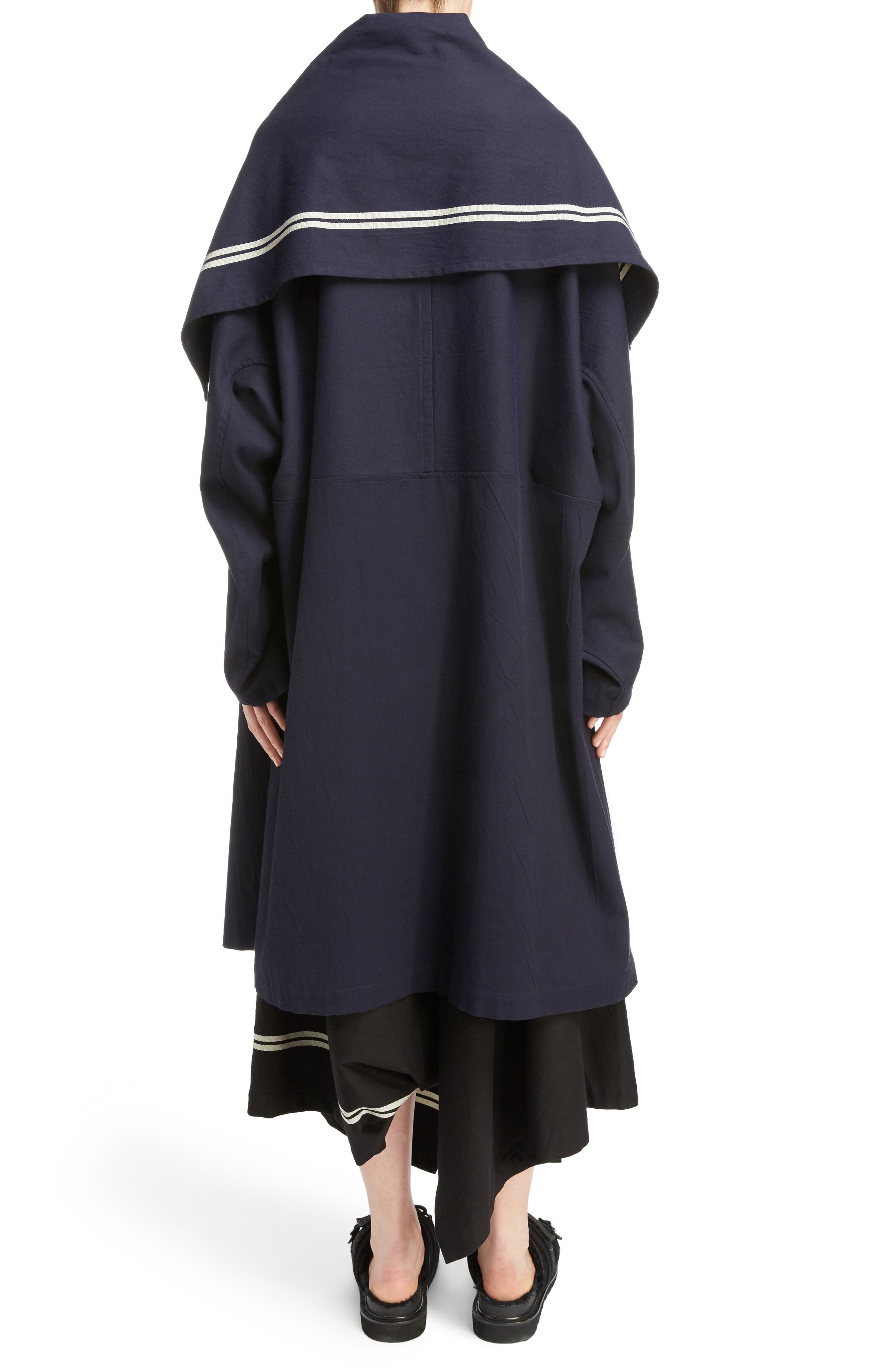 Drape Collar Coat,                             Alternate thumbnail 2, color,                             Navy