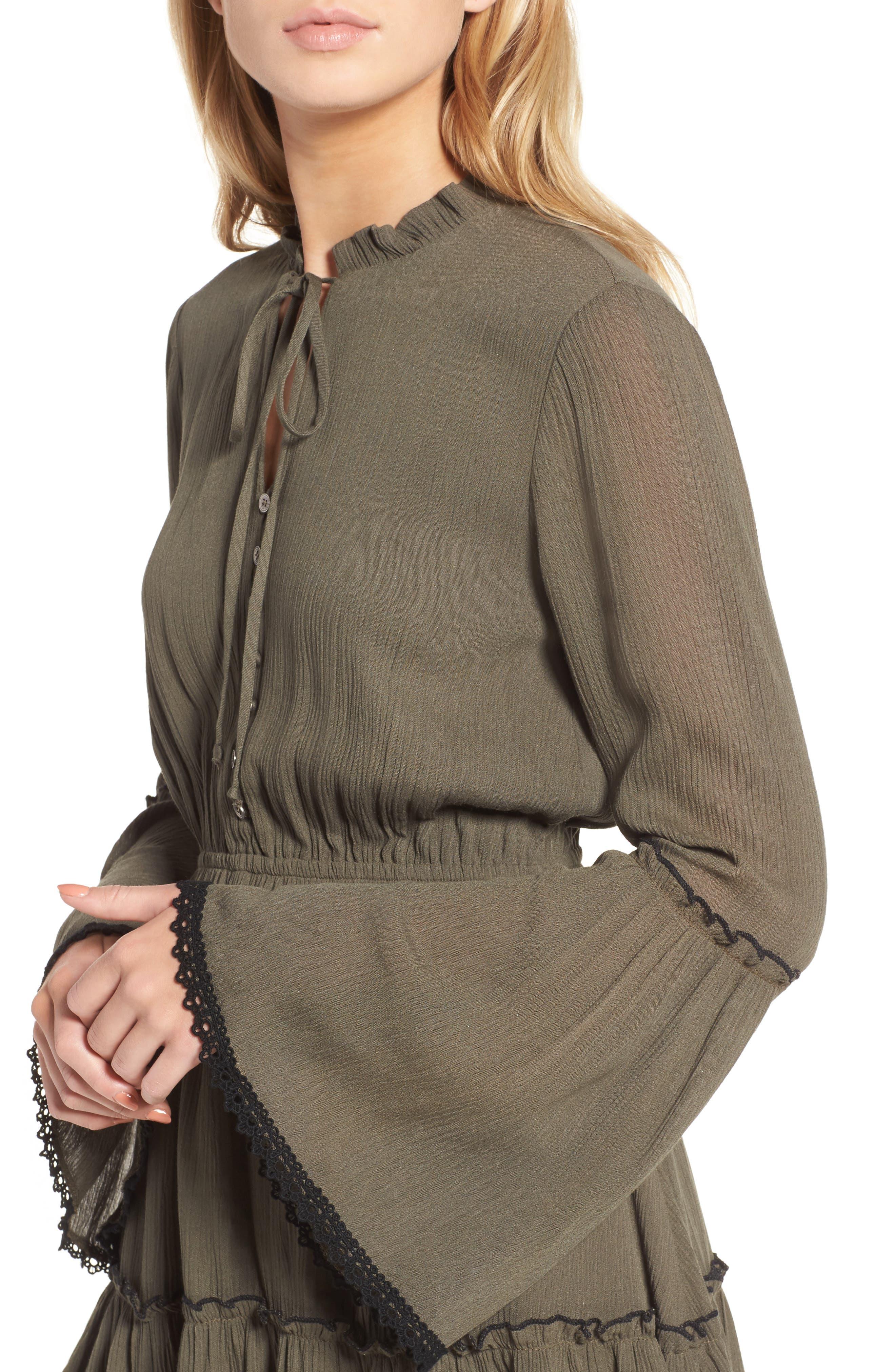 Olivia Bell Sleeve Dress,                             Alternate thumbnail 4, color,                             Olive