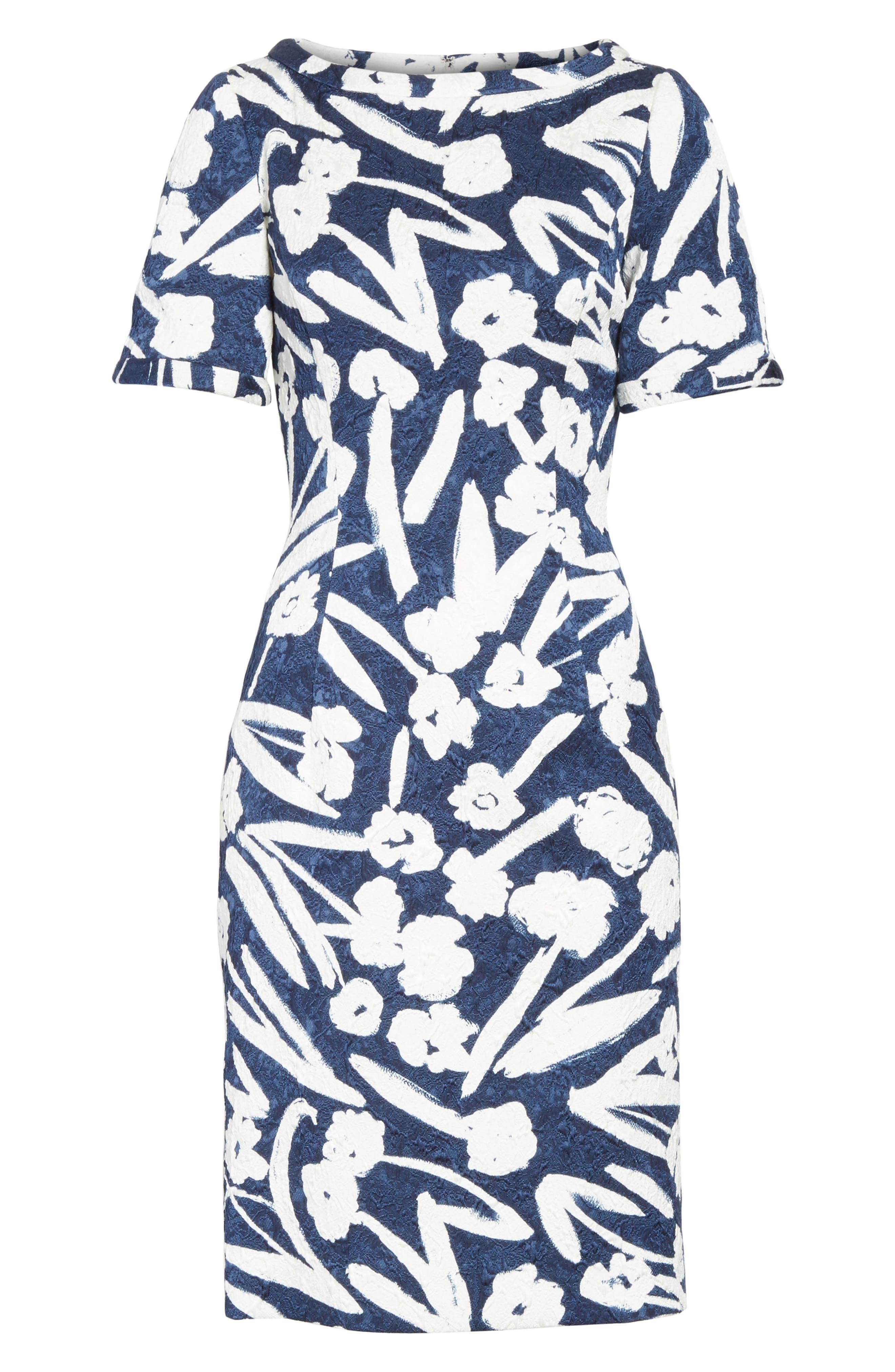 Painted Floral Cloqué Dress,                             Alternate thumbnail 6, color,                             Navy/ White