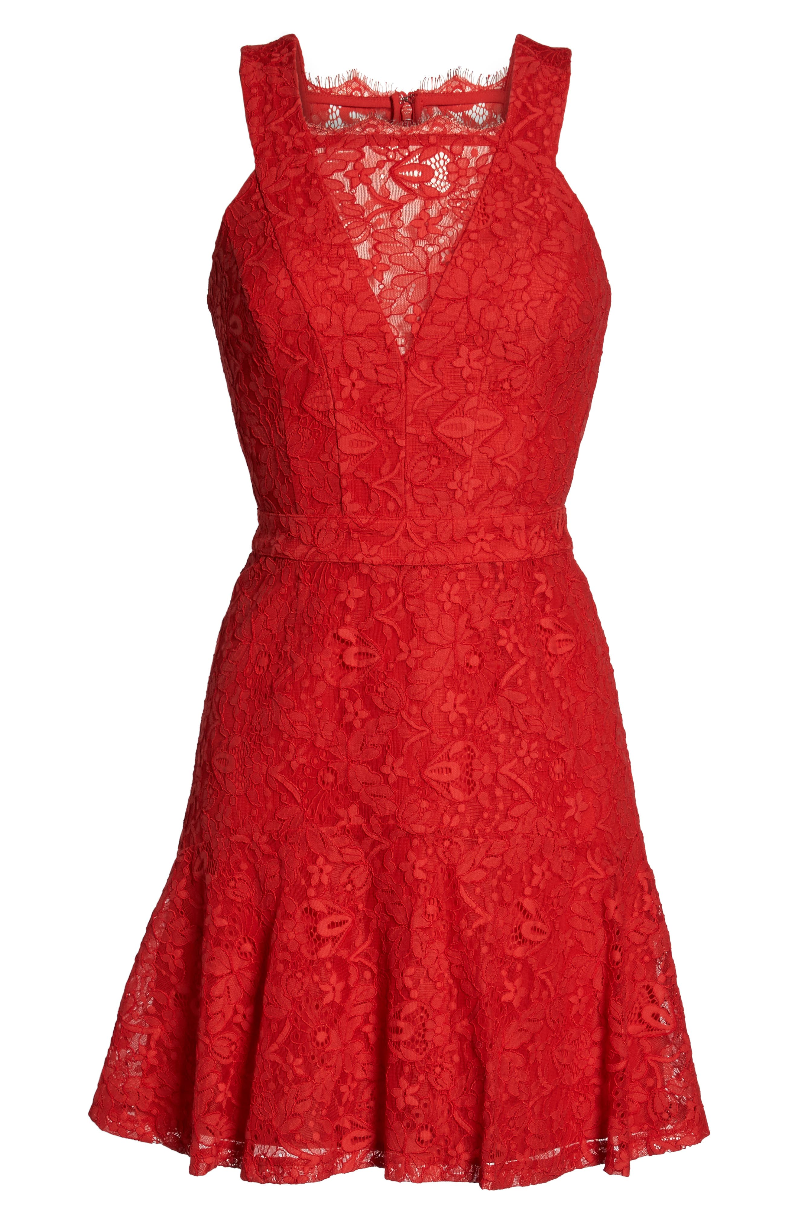Lace Fit & Flare Dress,                             Alternate thumbnail 6, color,                             Red