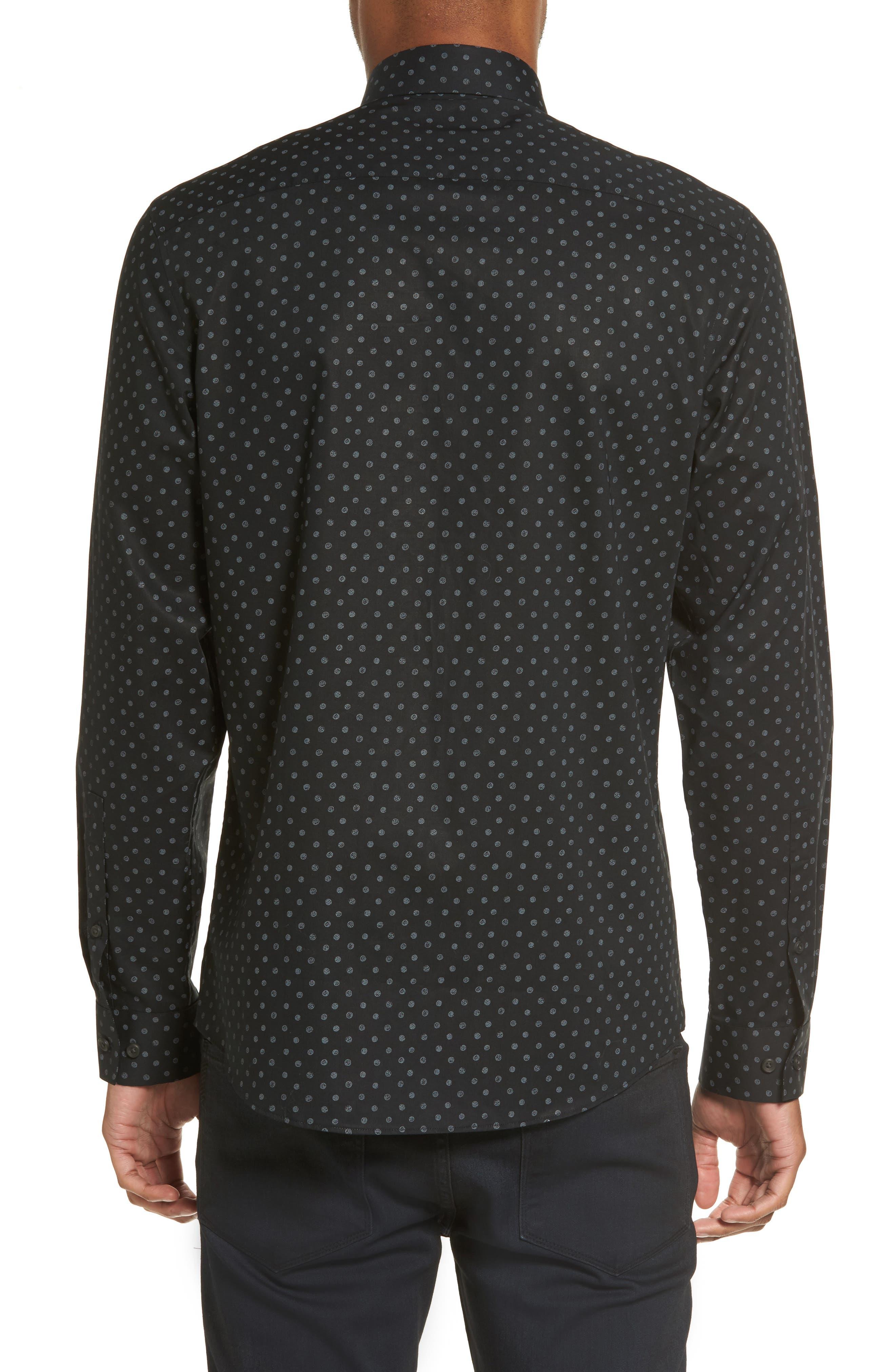 Dot Print Sport Shirt,                             Alternate thumbnail 2, color,                             Black Caviar Grey Dot Print