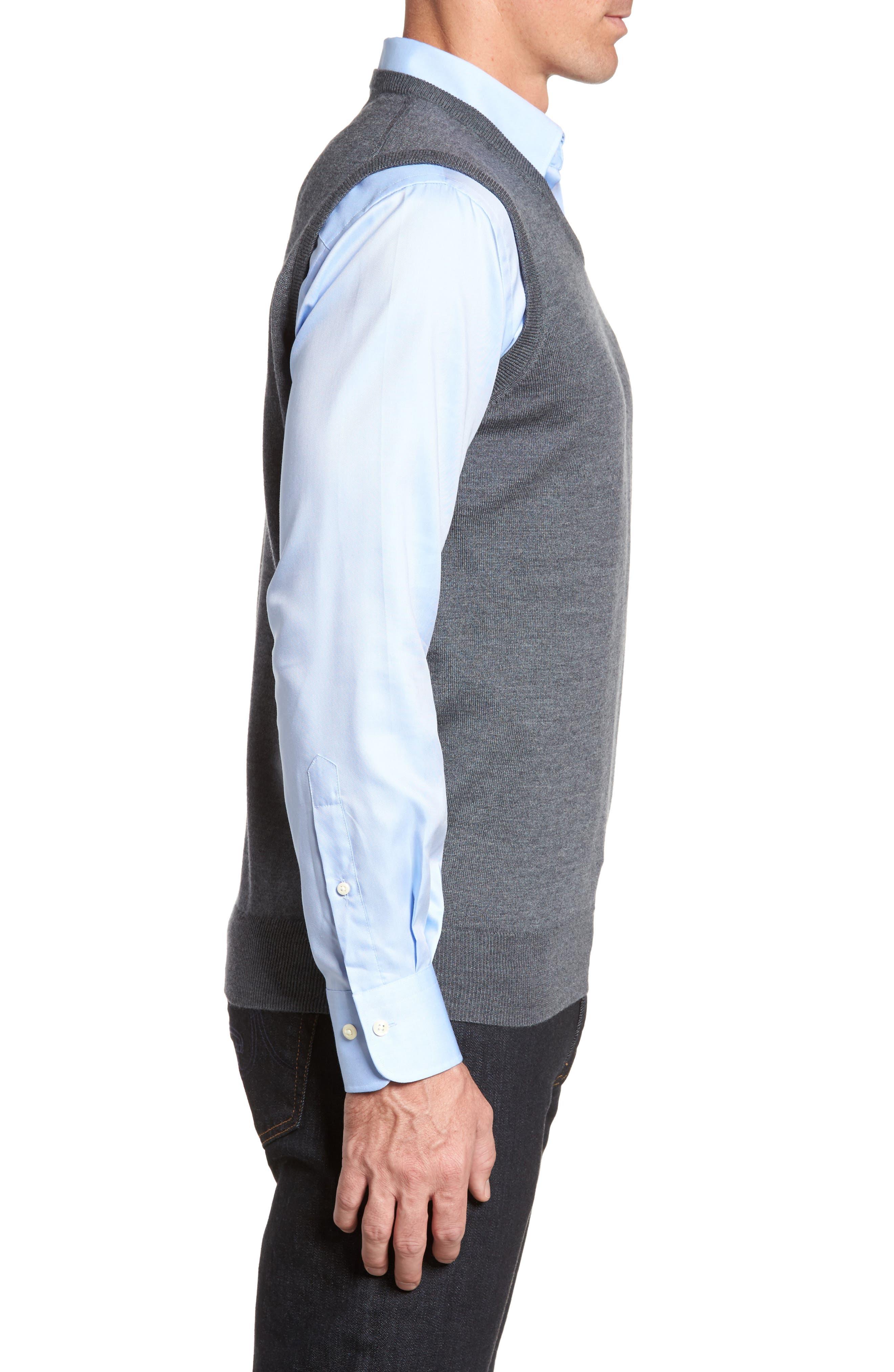Crown Merino Blend Knit Vest,                             Alternate thumbnail 3, color,                             Charcoal