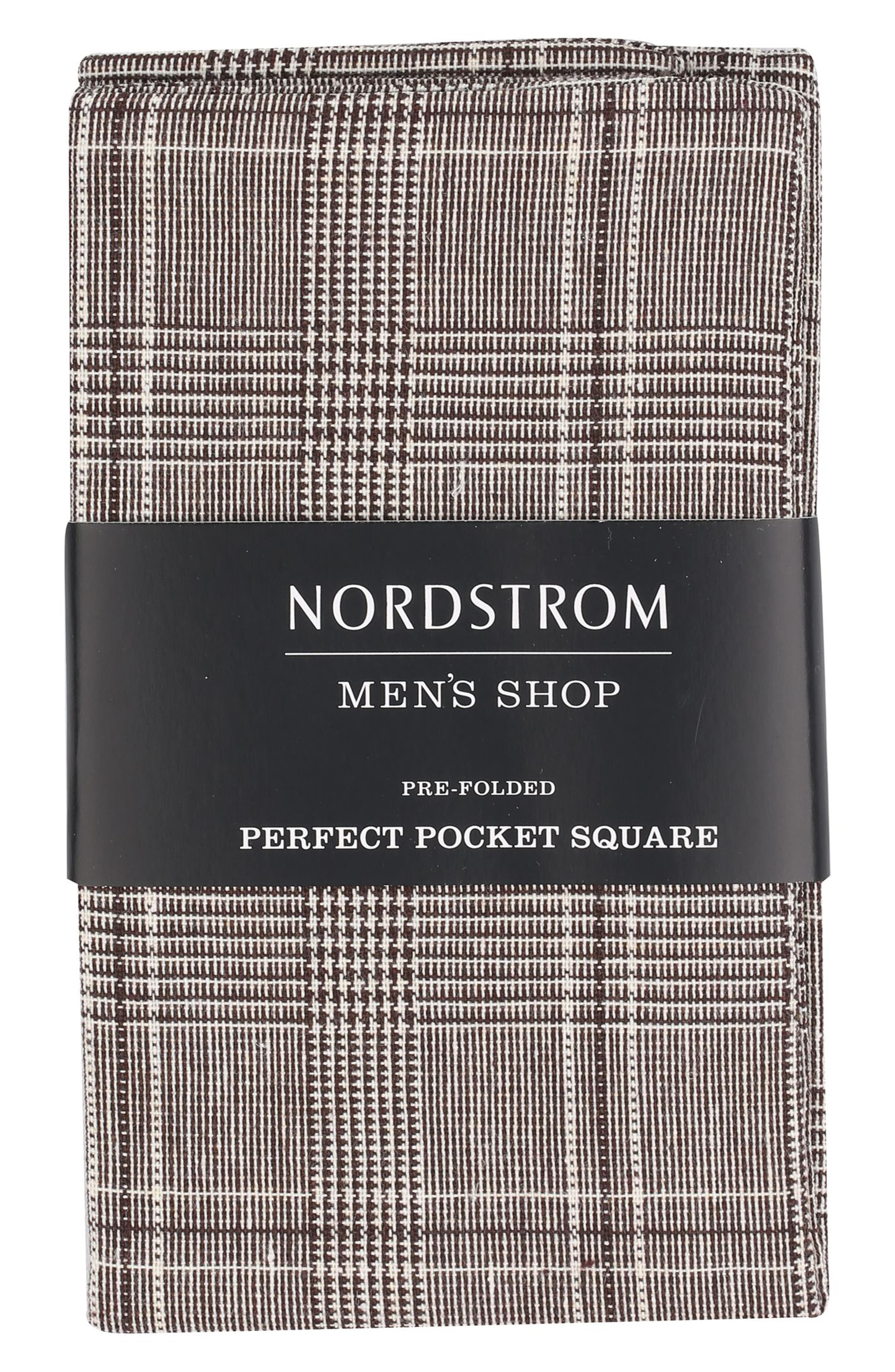 The Perfect Pre-Folded Pocket Square,                         Main,                         color, Brown Plaid